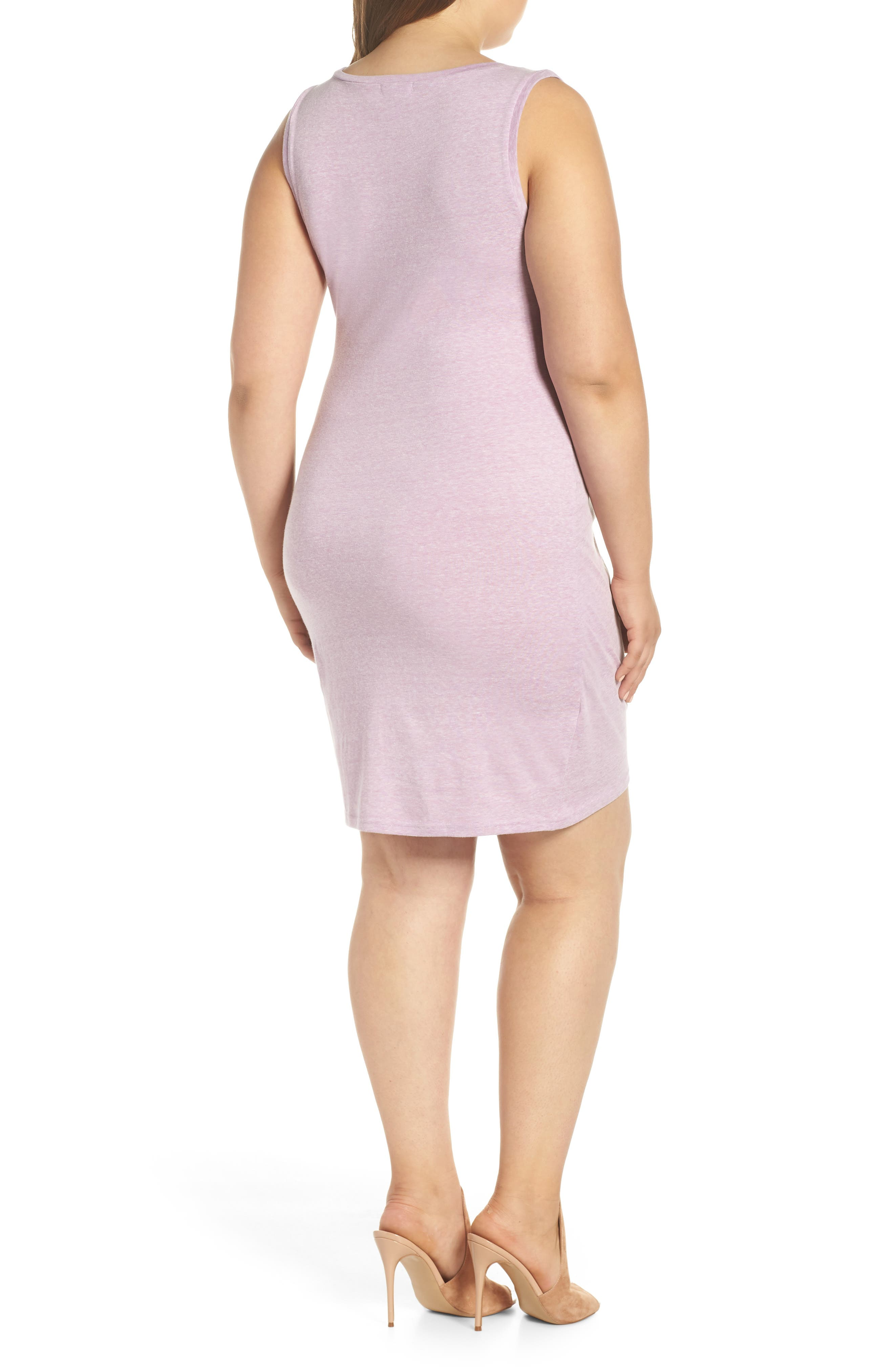 LEITH, Ruched Sheath Dress, Alternate thumbnail 2, color, PURPLE GALE HEATHER