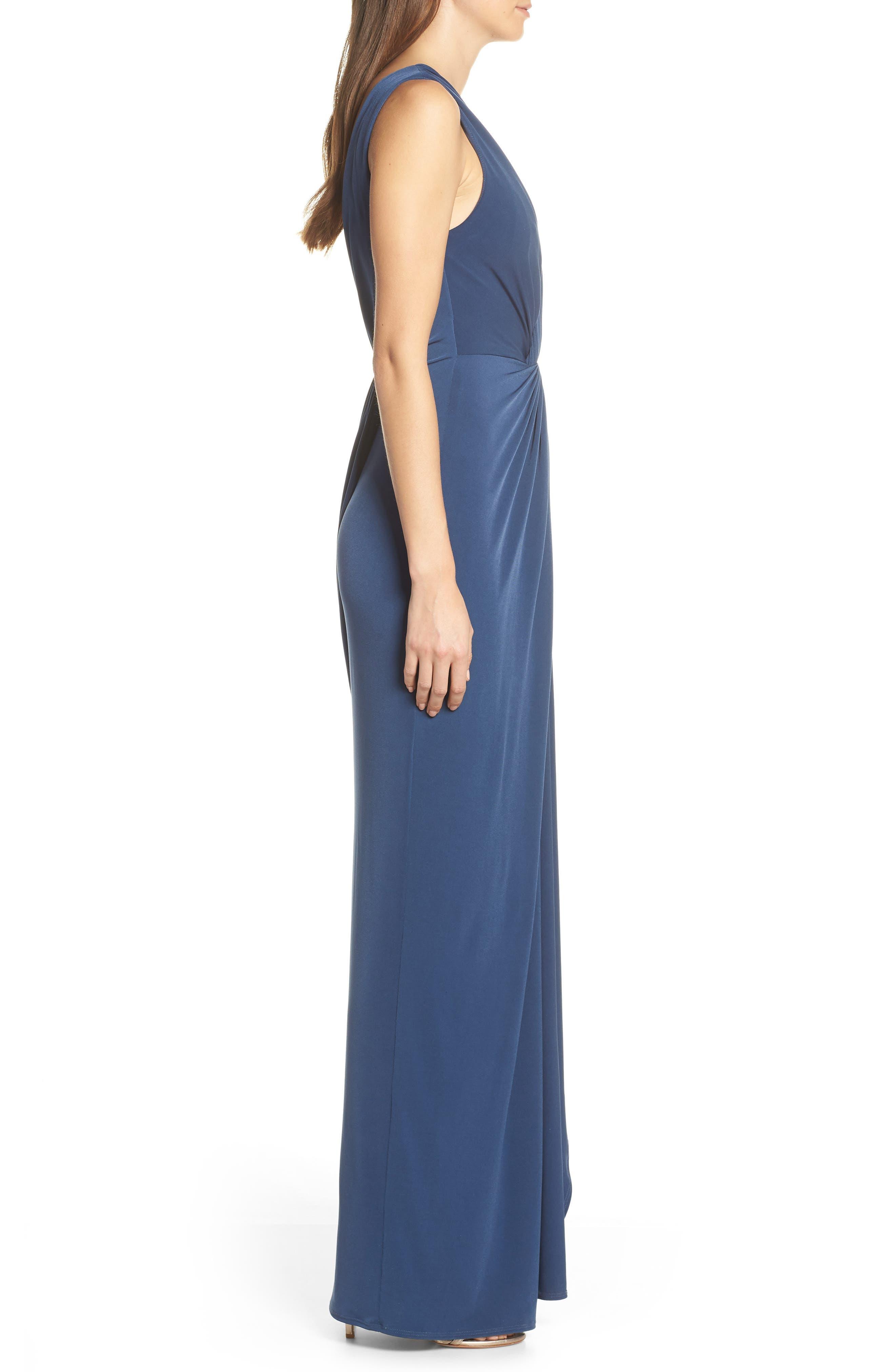 KATIE MAY, Leo Twist Front Evening Dress, Alternate thumbnail 4, color, DEEP SEA