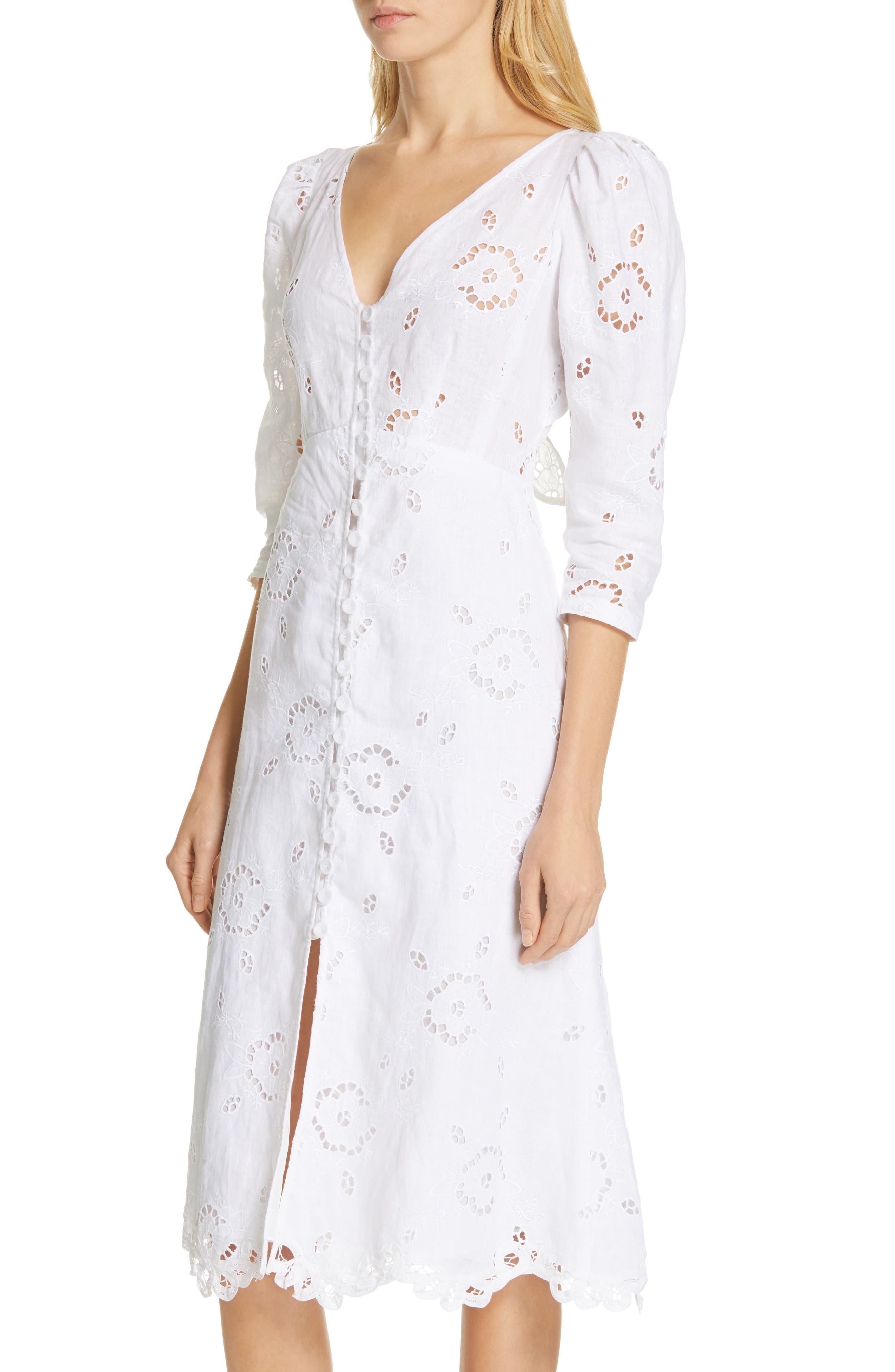 REBECCA TAYLOR, Terri Embroidered A-Line Dress, Alternate thumbnail 5, color, MILK