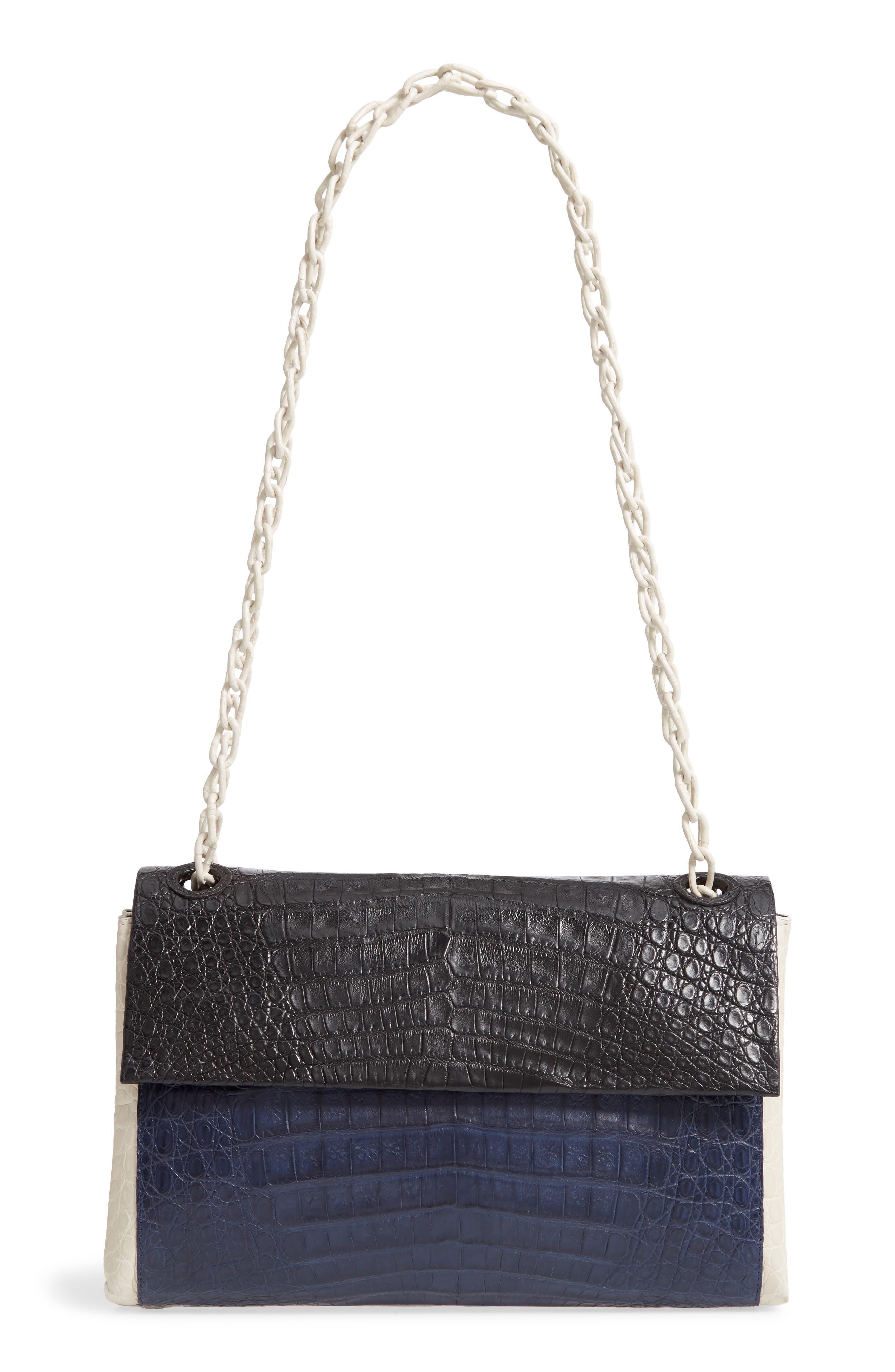 NANCY GONZALEZ, Medium Madison Genuine Crocodile Shoulder Bag, Main thumbnail 1, color, BLACK / NAVY/ LIGHT GREY