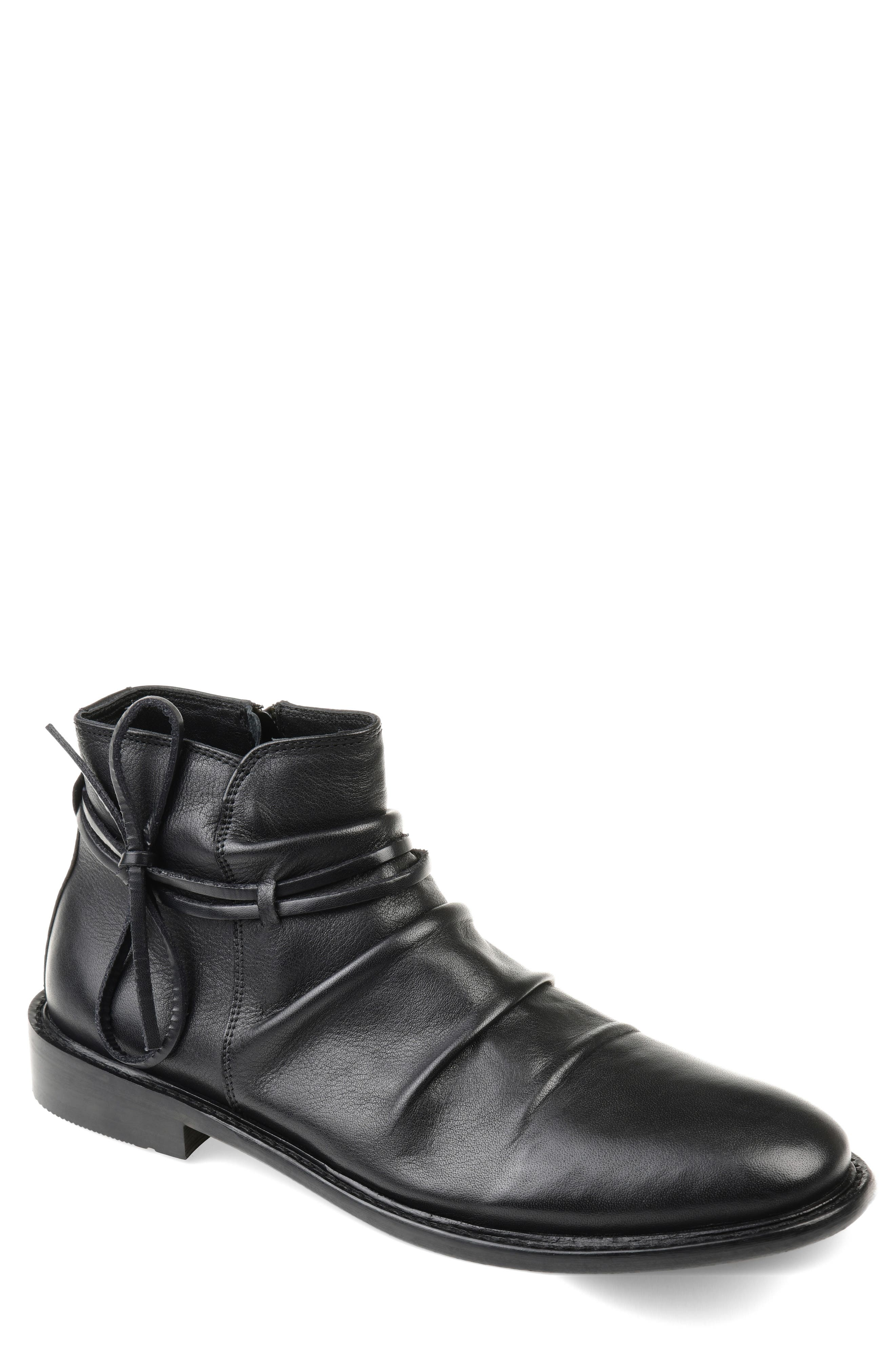 THOMAS AND VINE, Gideon Mid Rippled Boot, Main thumbnail 1, color, BLACK LEATHER