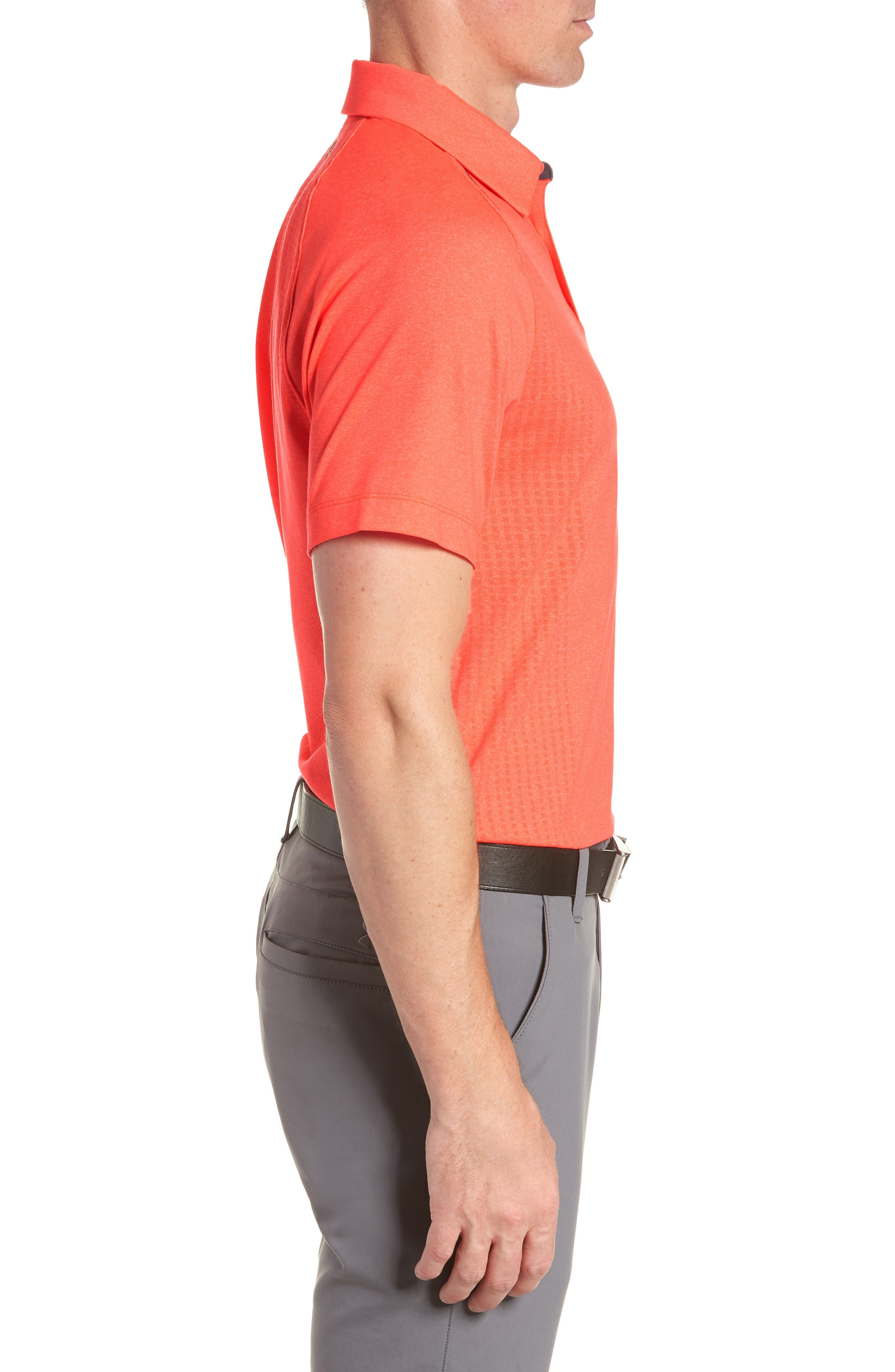 UNDER ARMOUR, Threadborne Outer Glow Regular Fit Polo Shirt, Alternate thumbnail 3, color, NEON CORAL LIGHT/ HEATHER