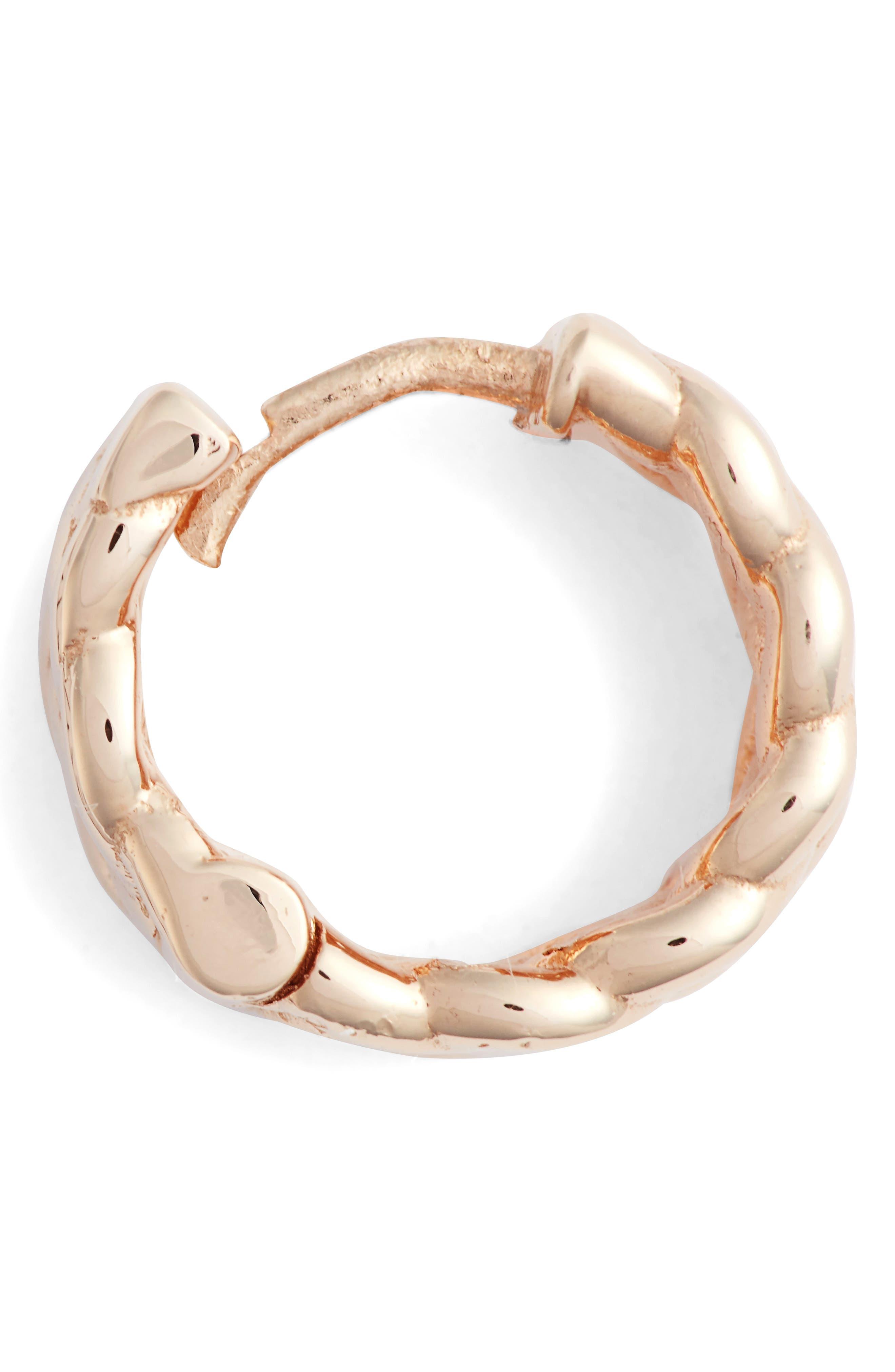 KISMET BY MILKA, Single Braided Gold Hoop Earring, Alternate thumbnail 5, color, ROSE GOLD