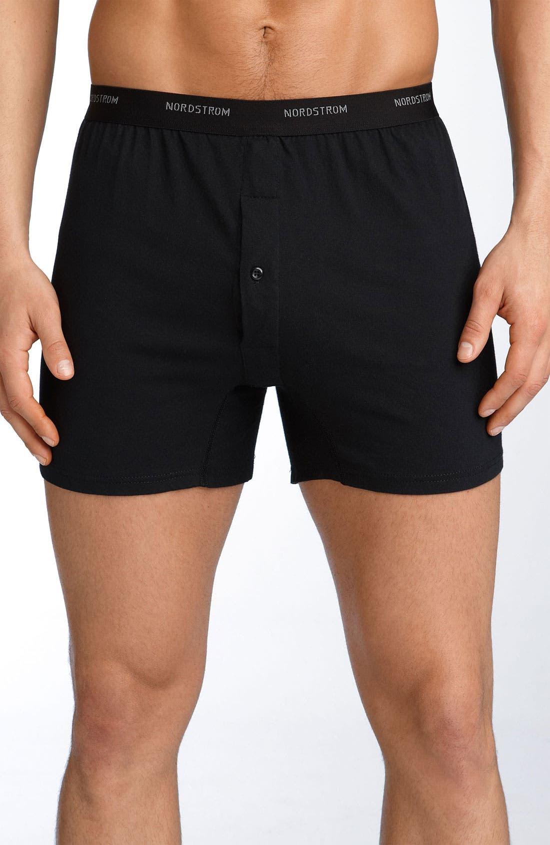 NORDSTROM MEN'S SHOP, 3-Pack Supima<sup>®</sup> Cotton Boxers, Main thumbnail 1, color, BLACK