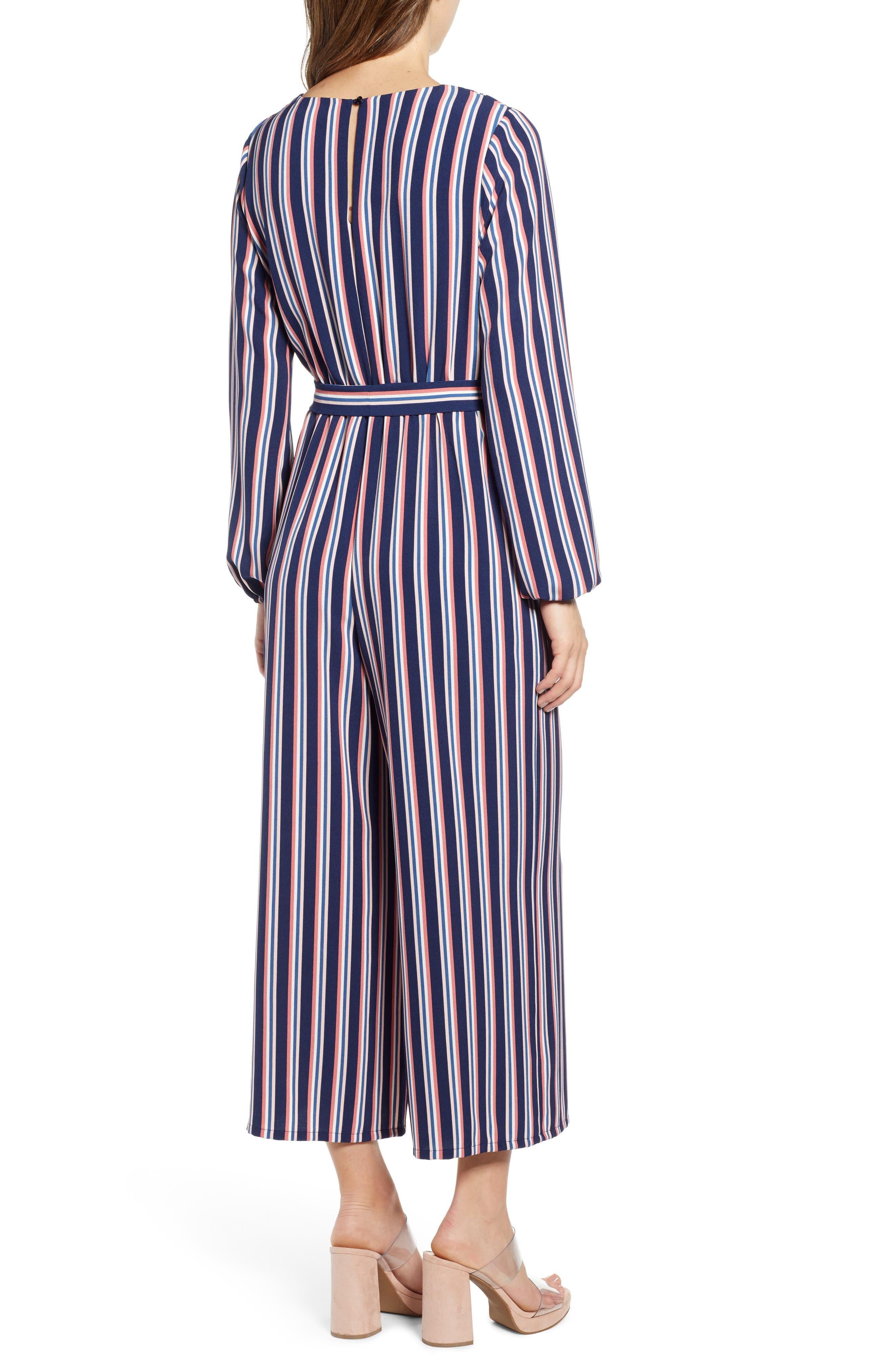 LEITH, Stripe Surplice Jumpsuit, Alternate thumbnail 2, color, NAVY PEACOAT FEM STRIPE