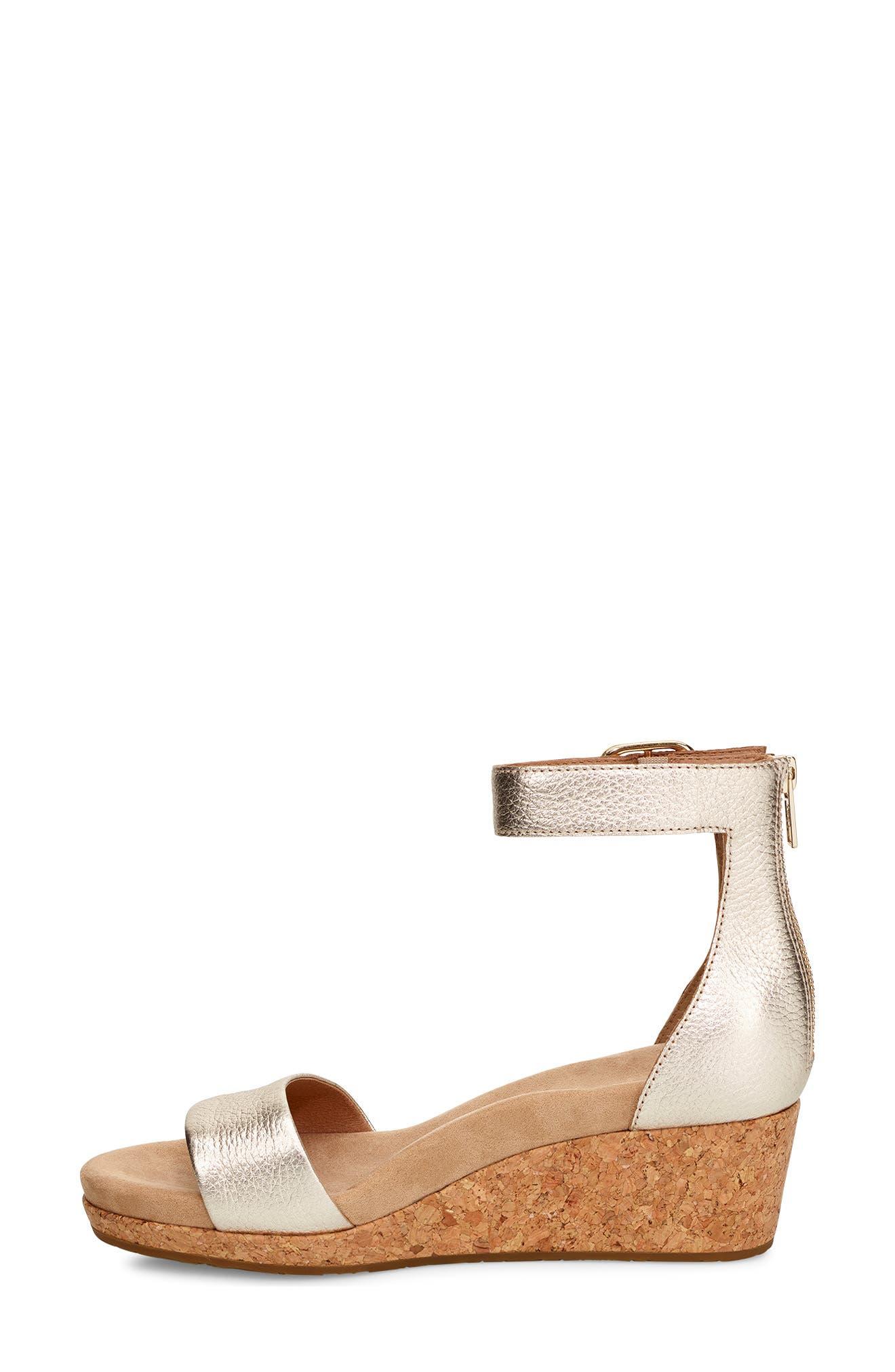 UGG<SUP>®</SUP>, Zoe II Metallic Wedge Sandal, Alternate thumbnail 6, color, GOLD LEATHER