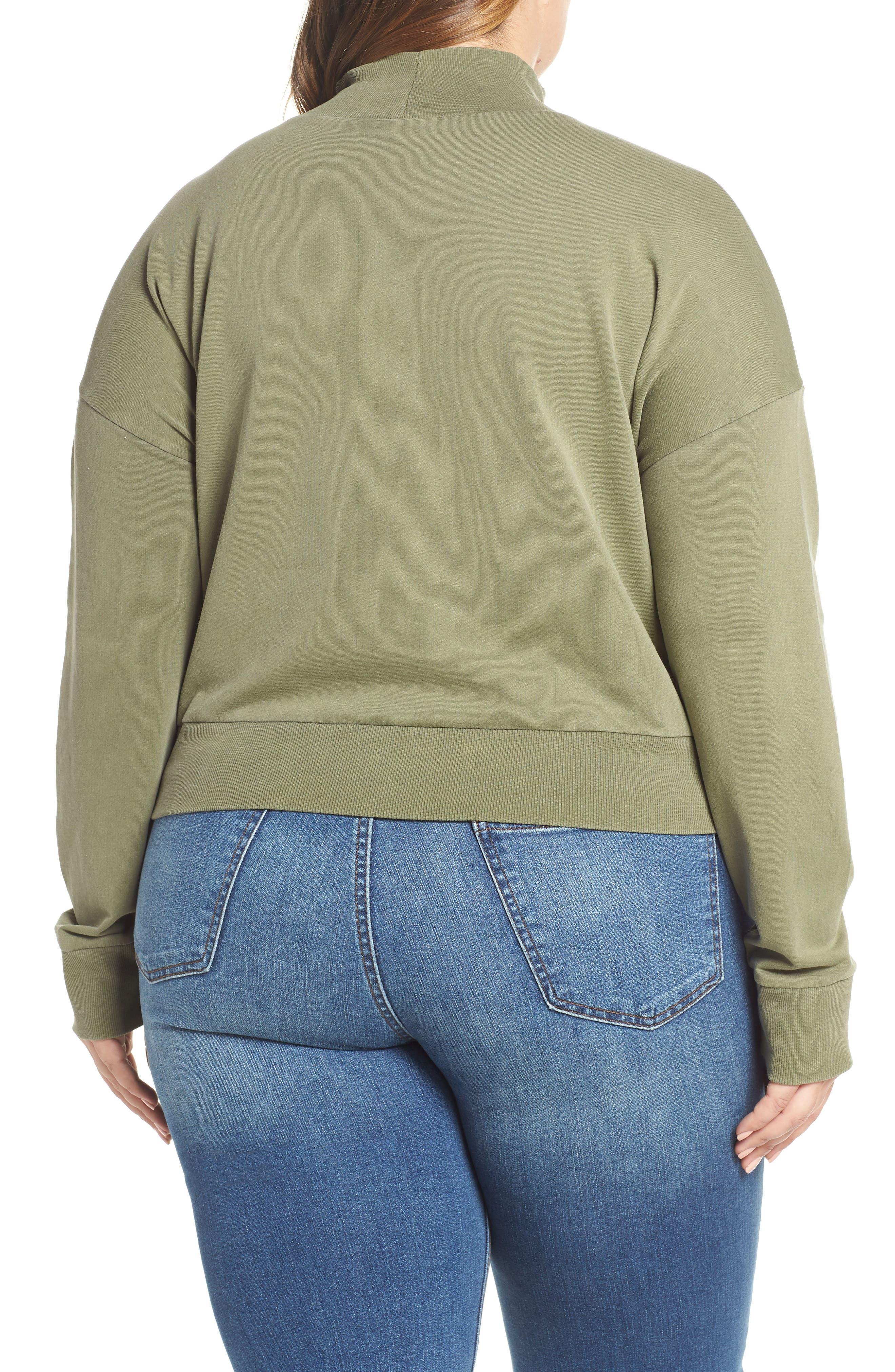 BP., Washed Mock Neck Sweatshirt, Alternate thumbnail 8, color, OLIVE BURNT