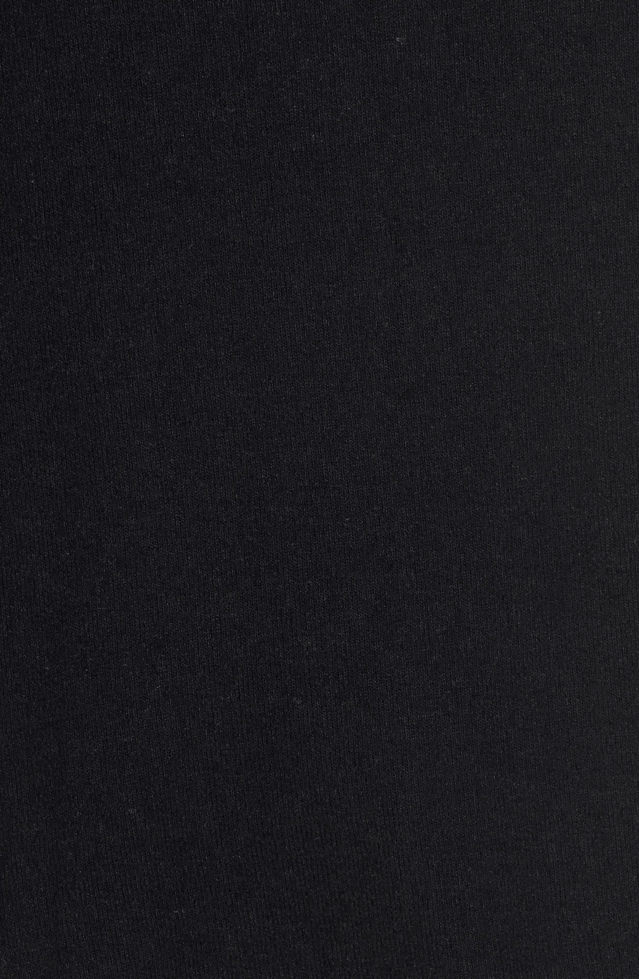 GIBSON, Cozy Convertible Neckline Tunic, Alternate thumbnail 6, color, BLACK