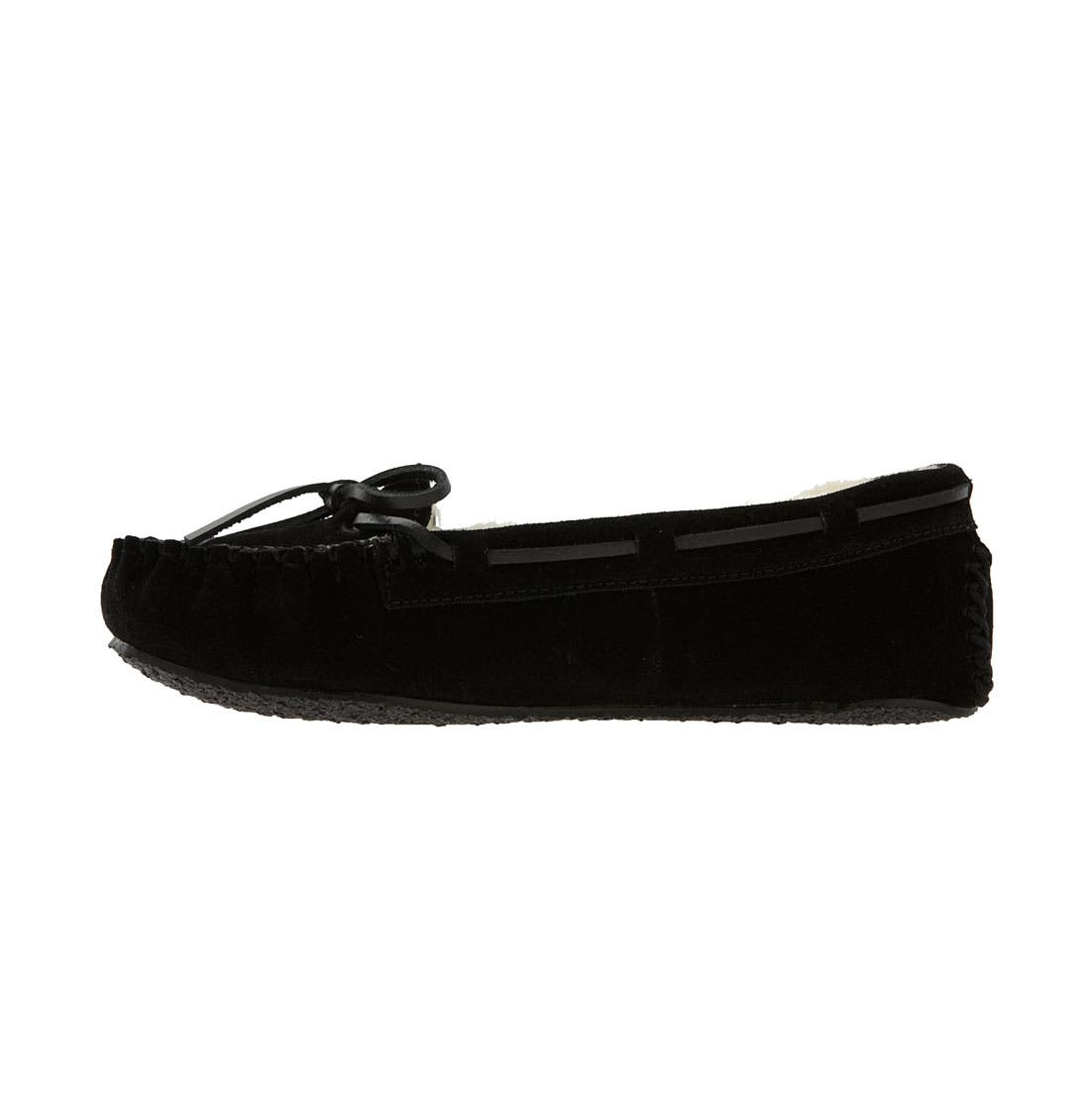 MINNETONKA, 'Cally' Slipper, Alternate thumbnail 8, color, BLACK SUEDE