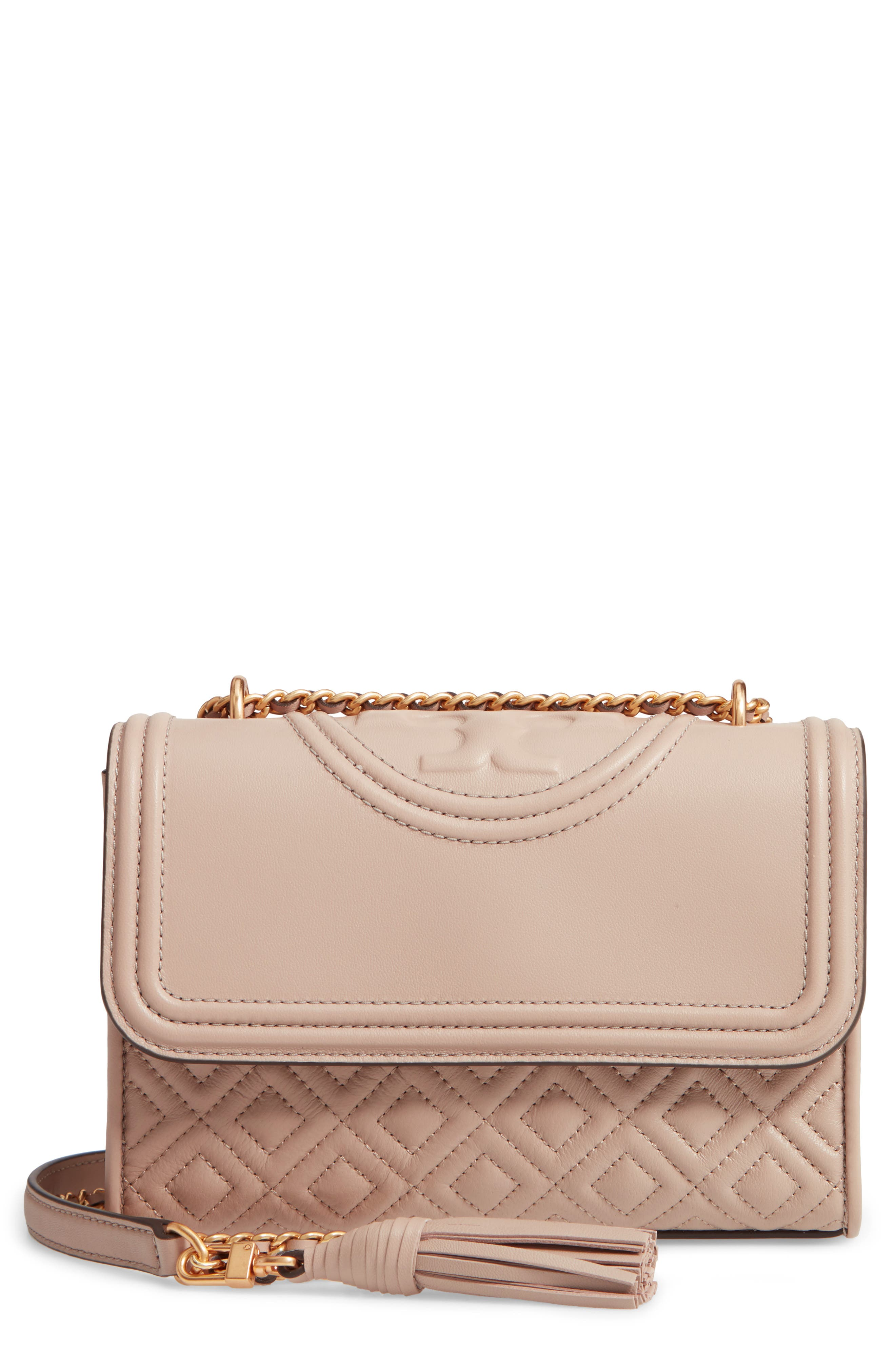 TORY BURCH, Small Fleming Leather Convertible Shoulder Bag, Main thumbnail 1, color, LIGHT TAUPE