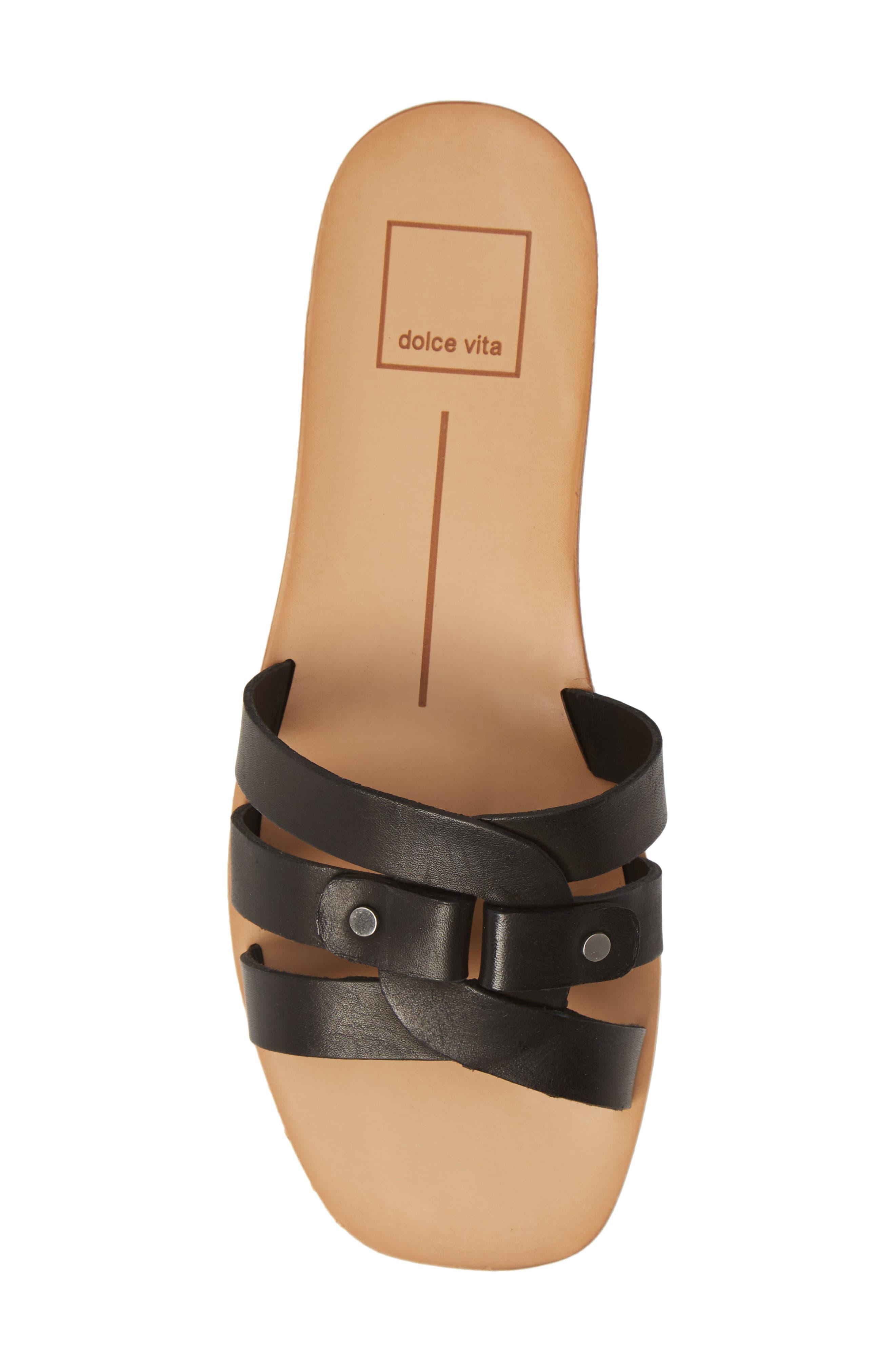 DOLCE VITA, Cait Slide Sandal, Alternate thumbnail 5, color, BLACK LEATHER