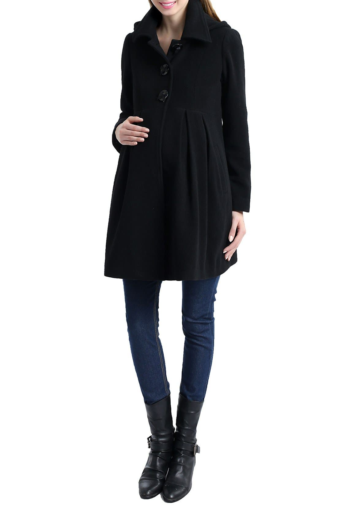 KIMI AND KAI, Faye Hooded Maternity Peacoat, Alternate thumbnail 3, color, 001
