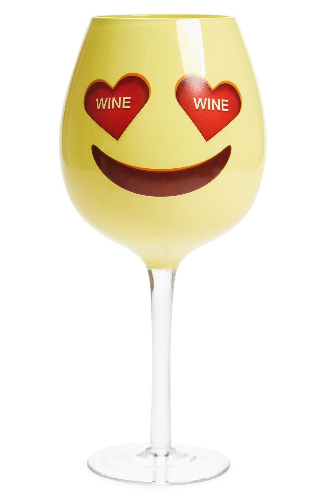 DCI, 'Emoji' Oversized Wine Glass, Main thumbnail 1, color, 700