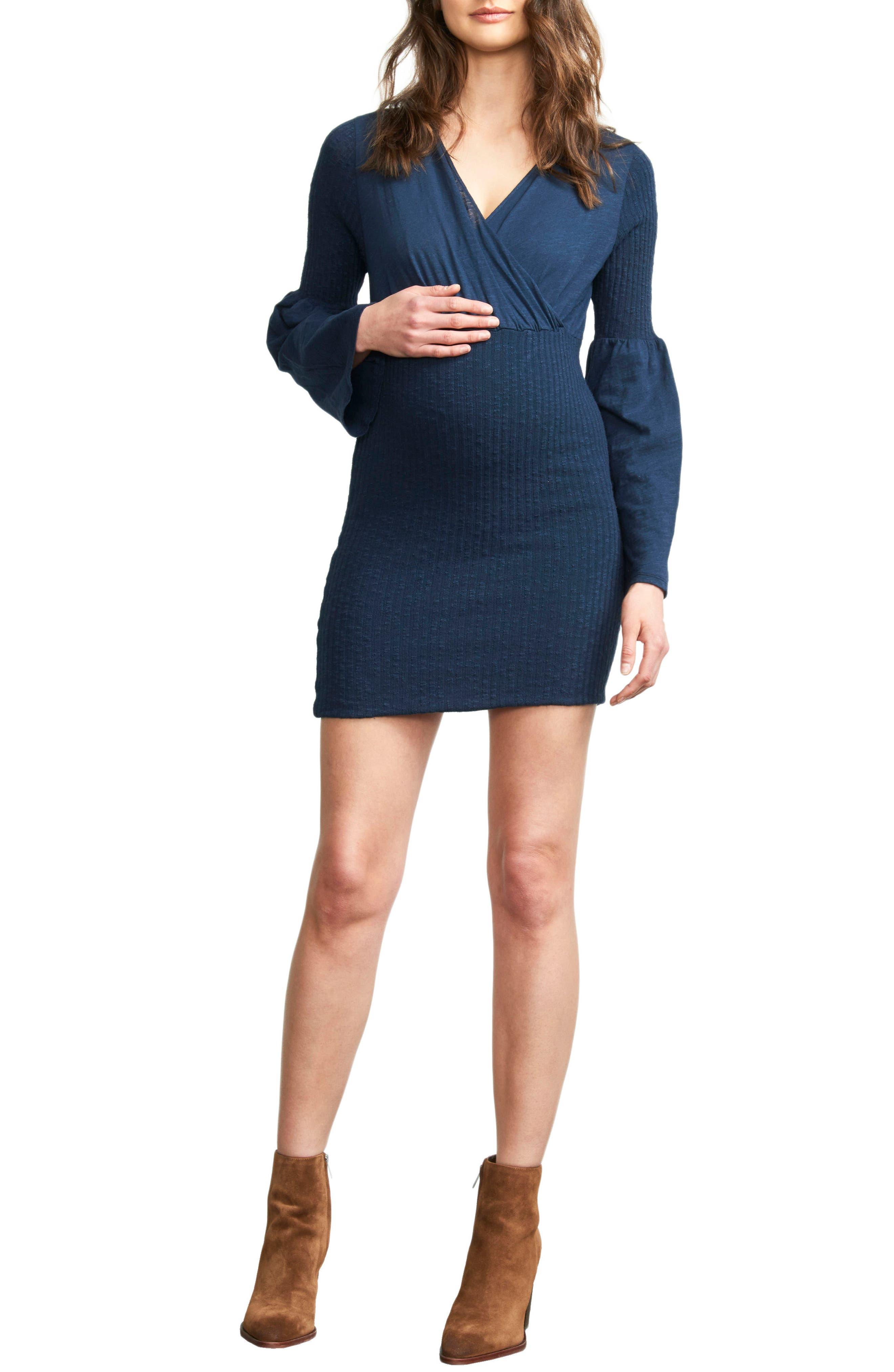MATERNAL AMERICA Belly Hug Maternity Dress, Main, color, NAVY