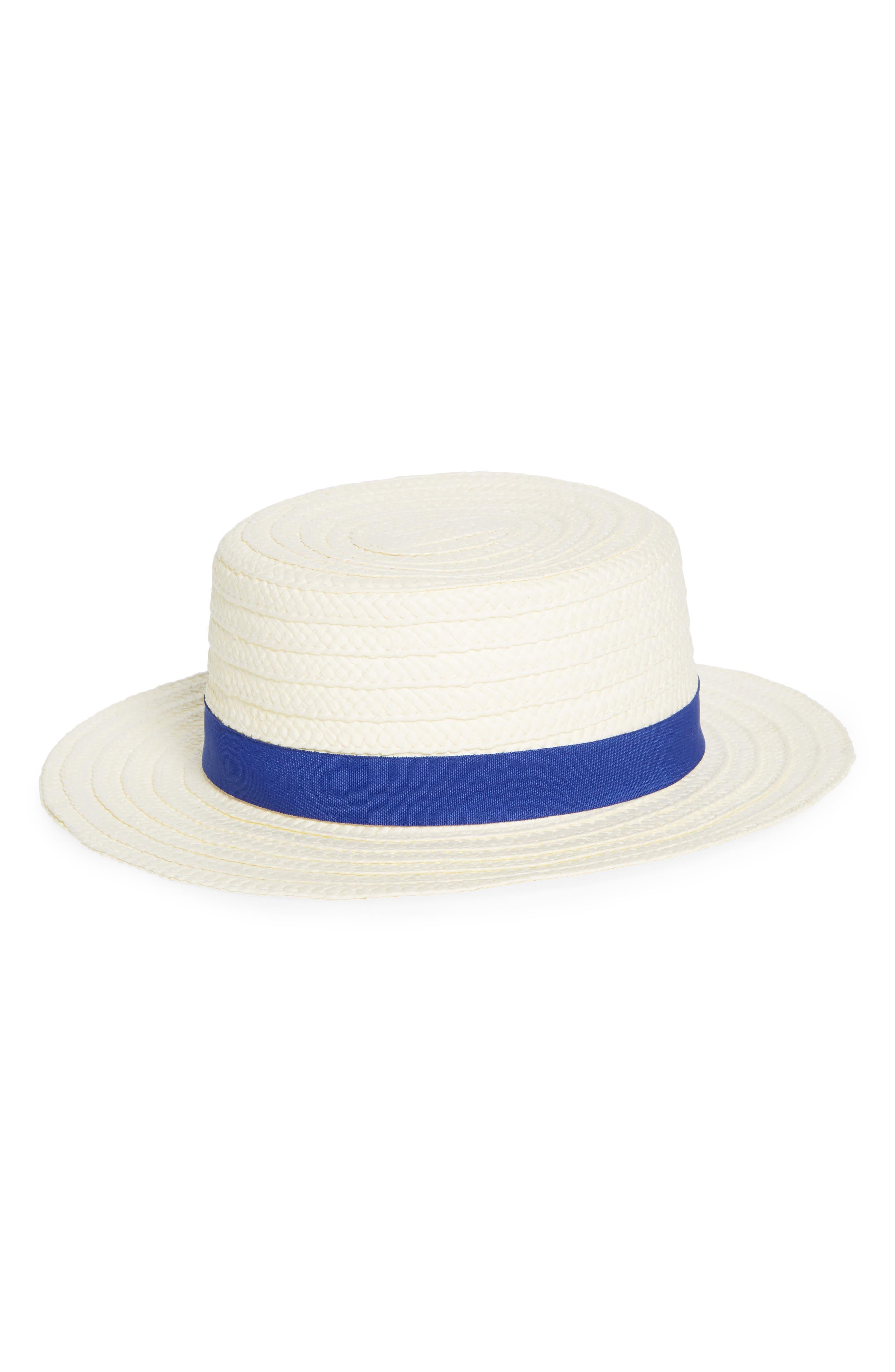 TREASURE & BOND, Straw Boater Hat, Main thumbnail 1, color, 100