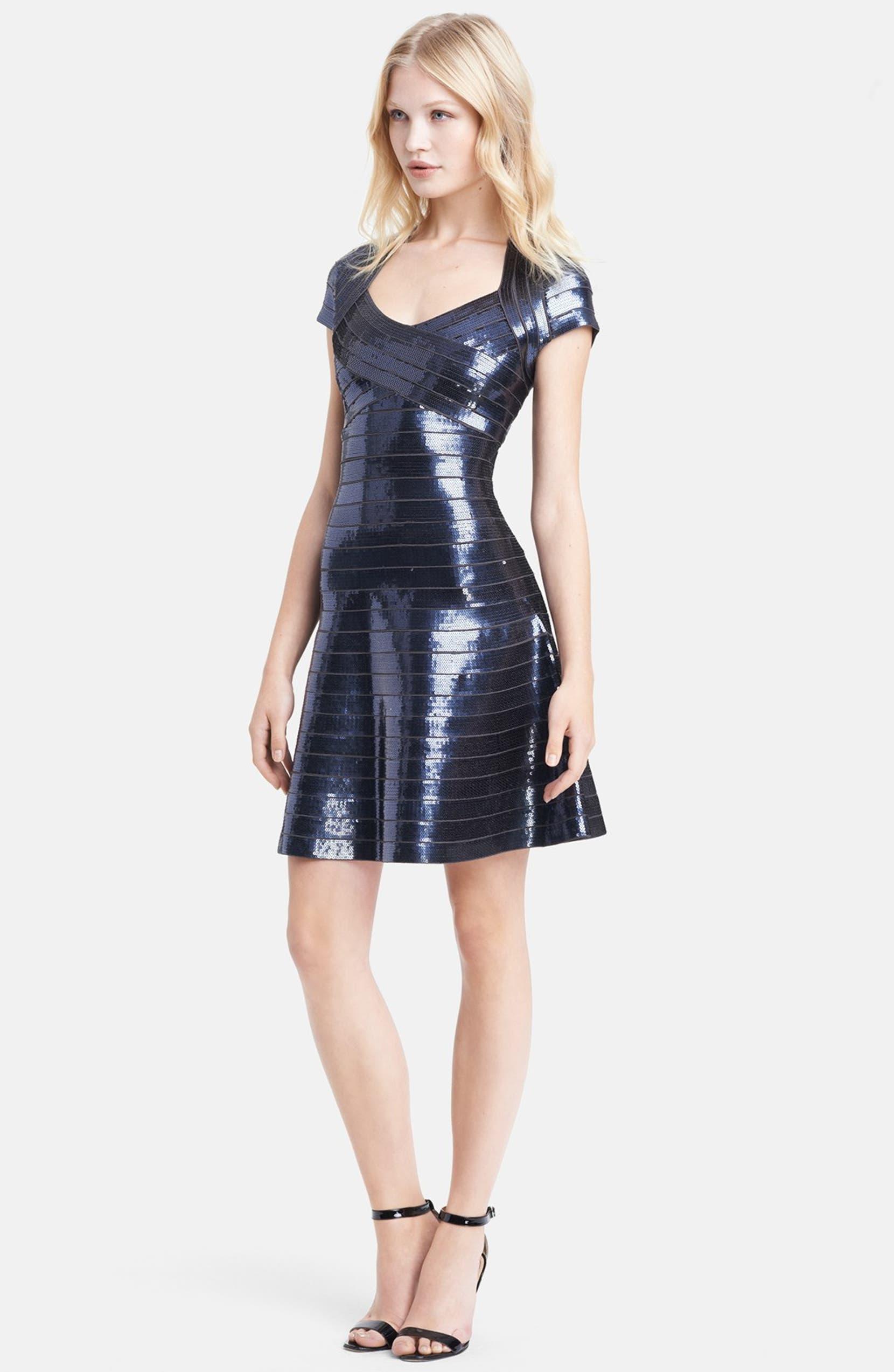 6467c4bd56ee8 Herve Leger Cap Sleeve Sequin Dress | Nordstrom