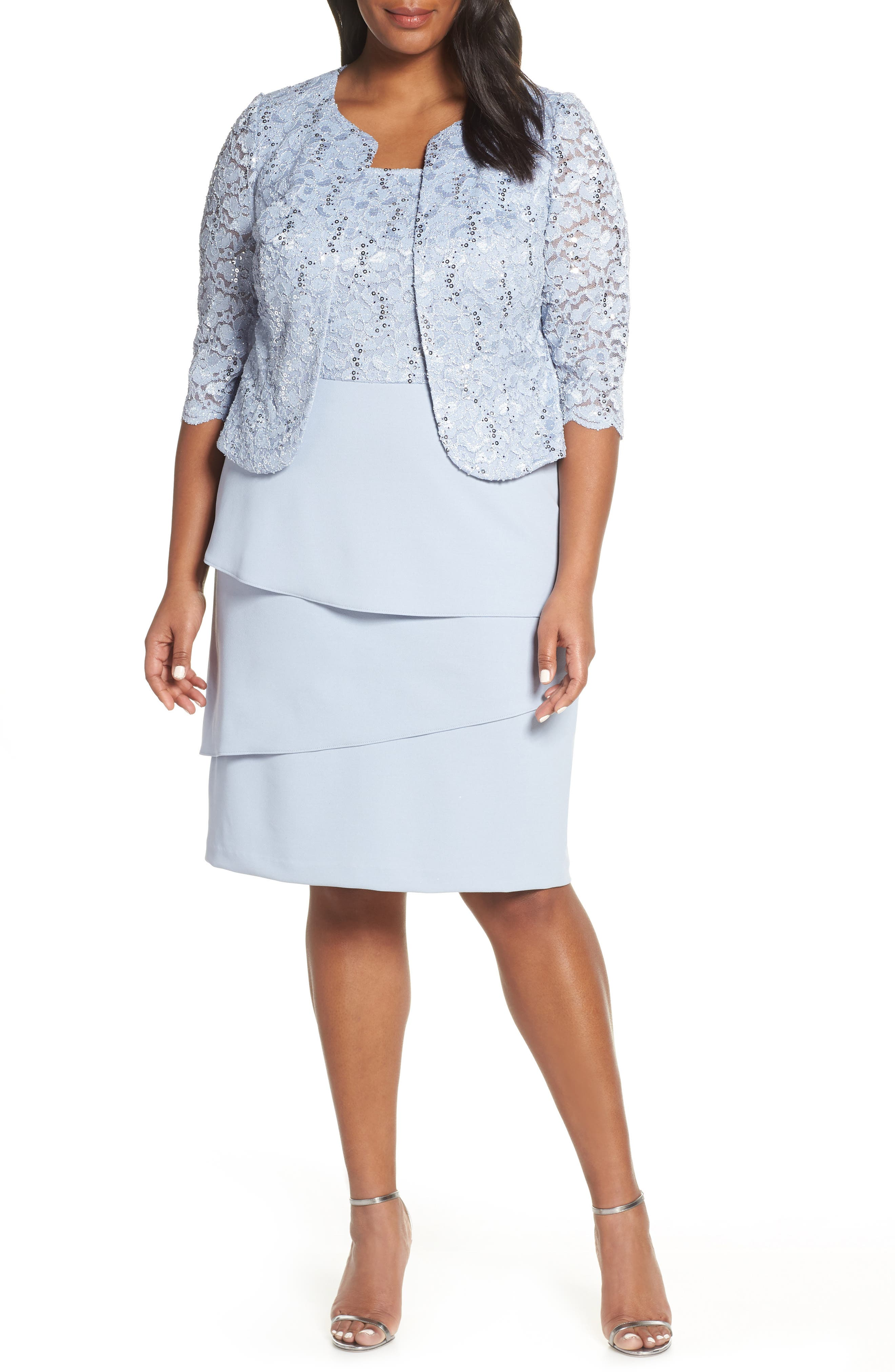 Plus Size Alex Evenings Tiered Skirt Cocktail Dress With Jacket, Blue