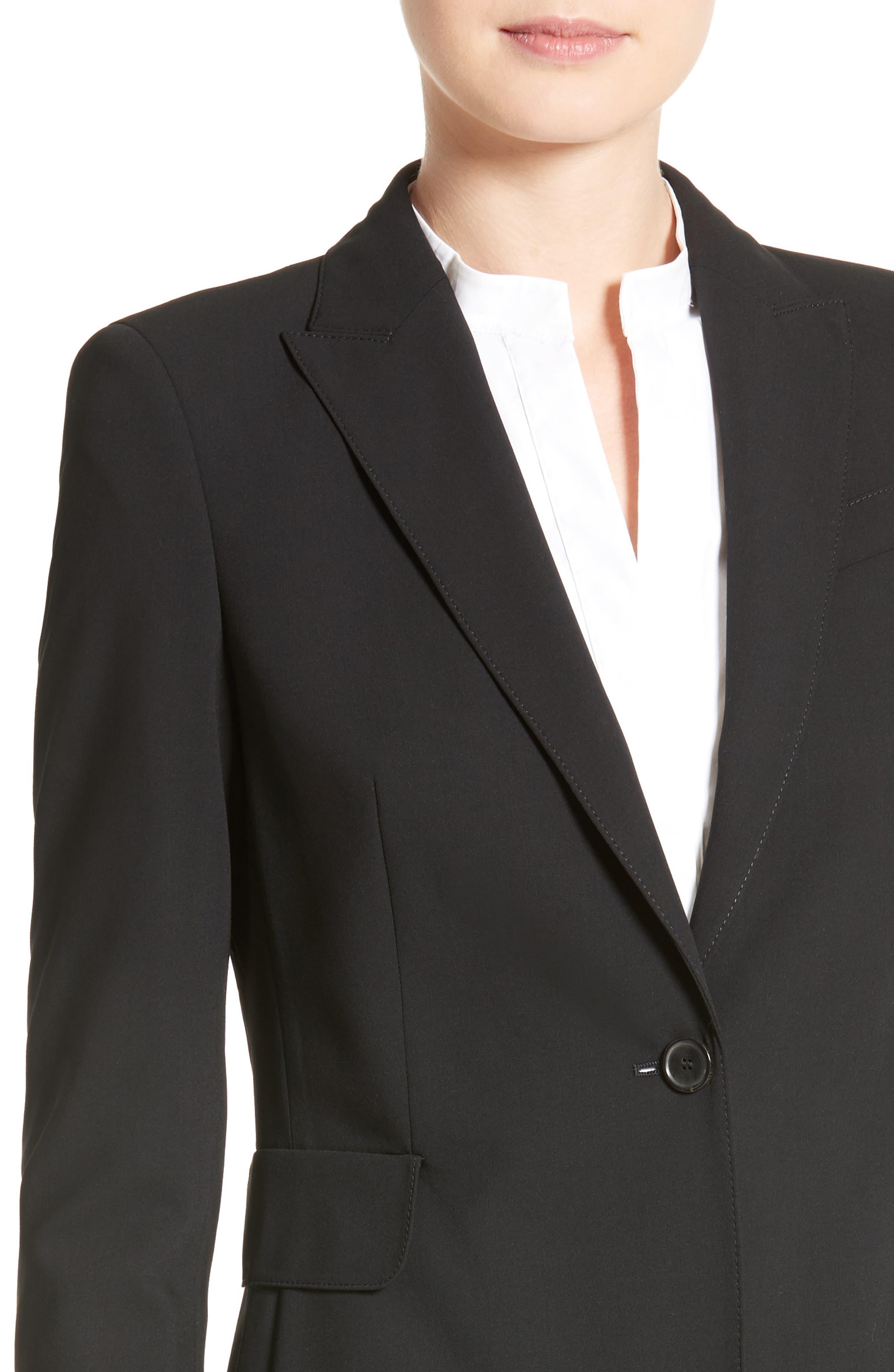 AKRIS PUNTO, Long One-Button Jacket, Alternate thumbnail 5, color, BLACK