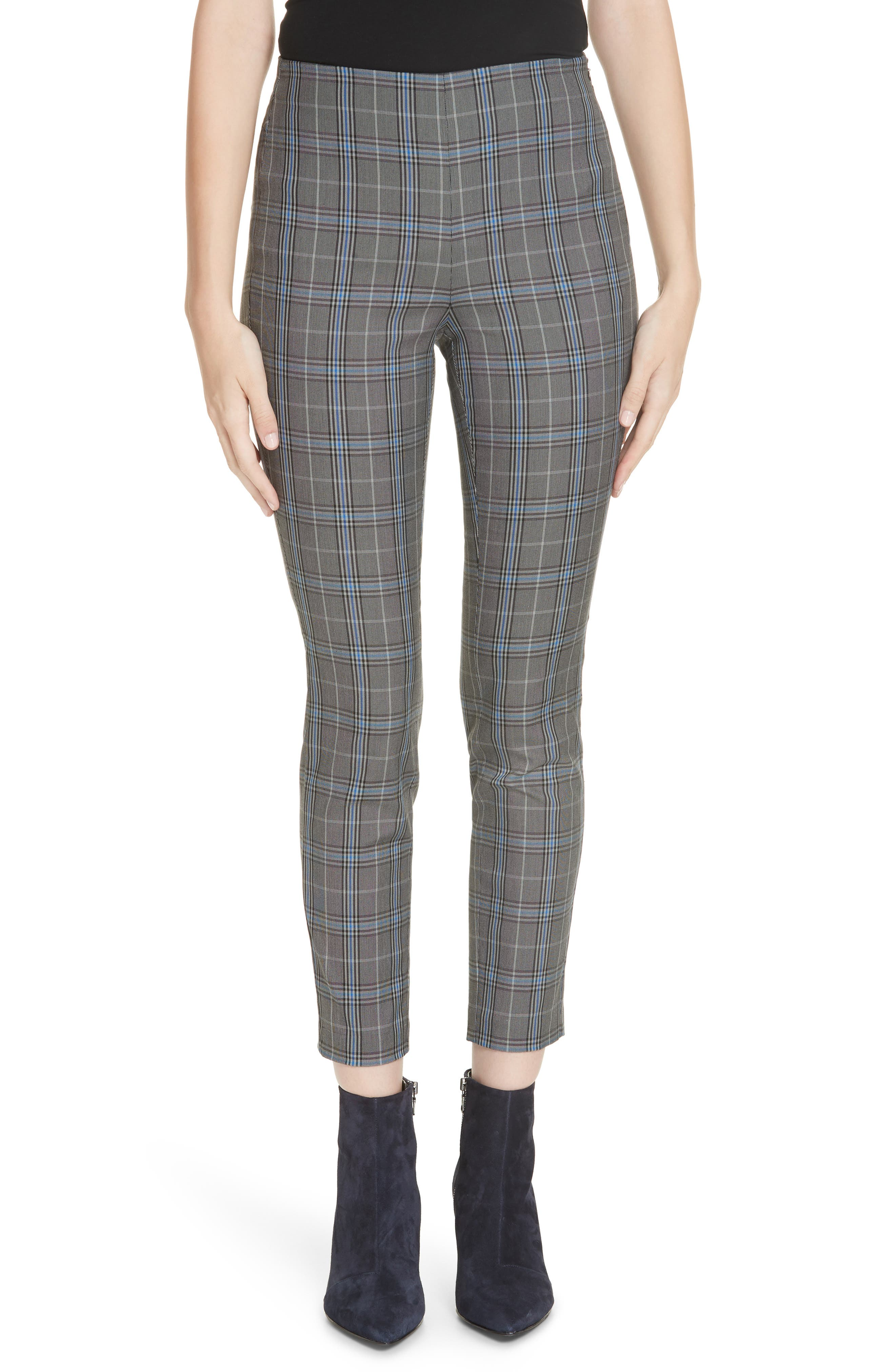 RAG & BONE Simone Plaid Crop Pants, Main, color, GREY MULTI