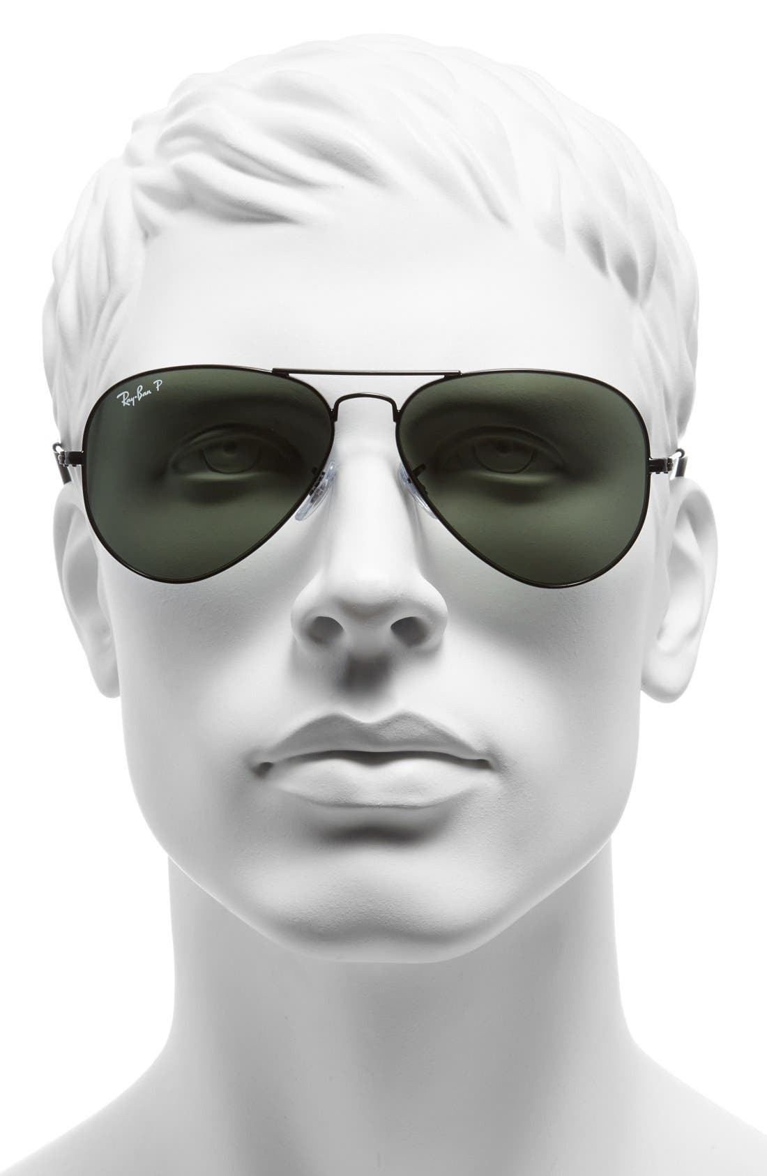 RAY-BAN, 'Polarized Original Aviator' 58mm Sunglasses, Alternate thumbnail 2, color, BLACK/ GREEN P