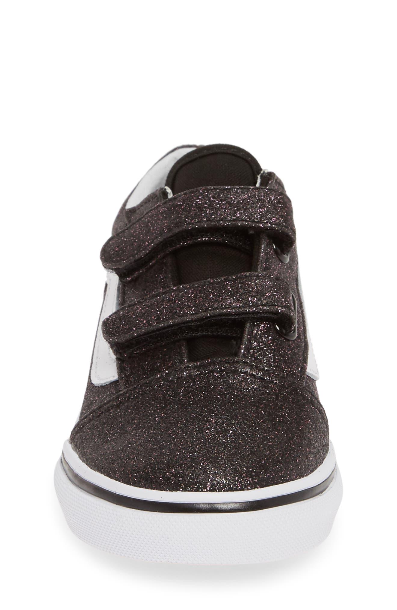 VANS, Old Skool V Glitter Sneaker, Alternate thumbnail 4, color, GLITTER STARS BLACK/ WHITE