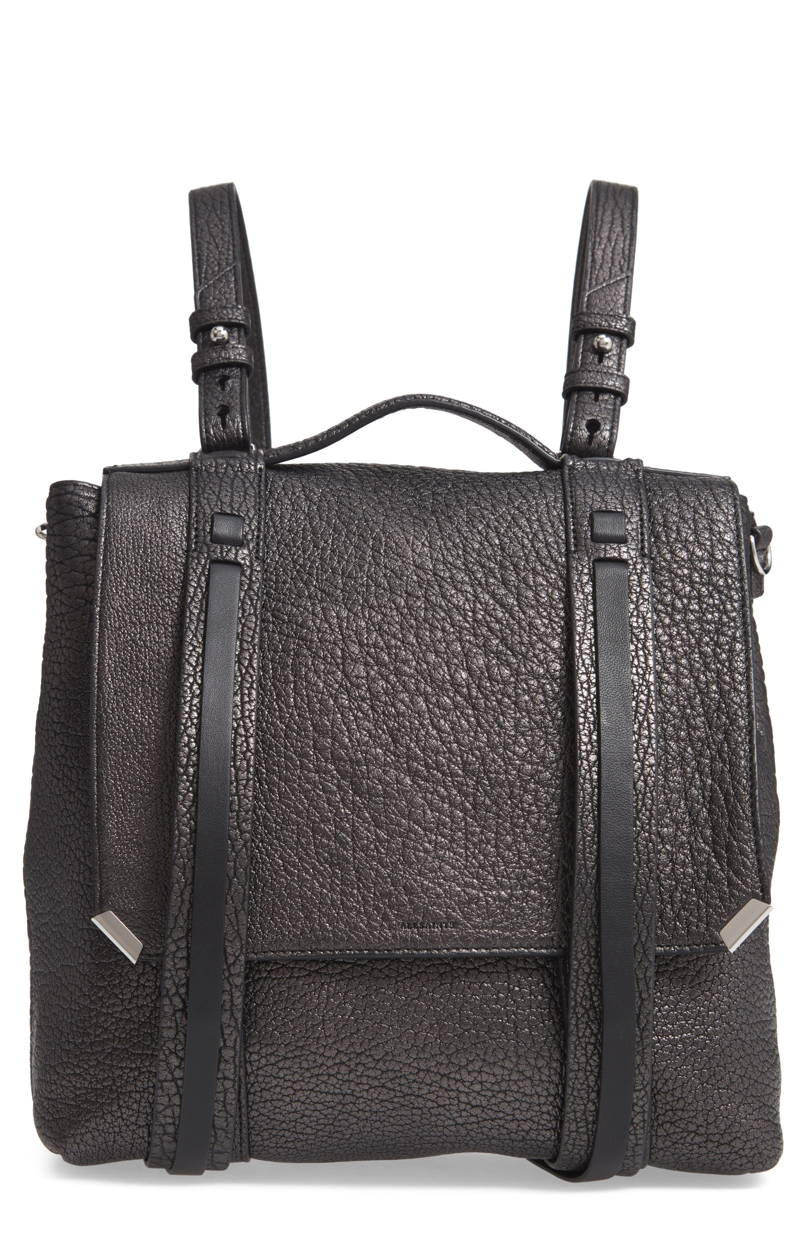 ALLSAINTS Vincent Leather Backpack, Main, color, 022