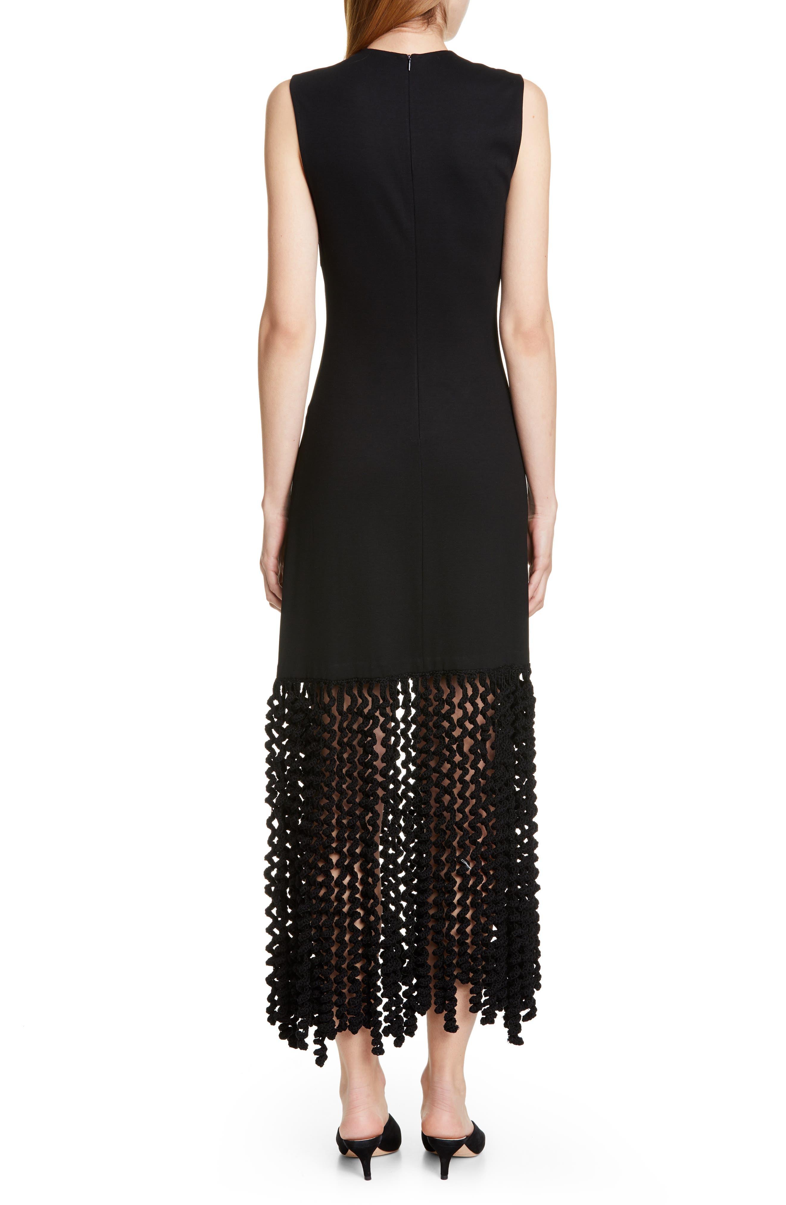 ROSETTA GETTY, Spiral Fringe Maxi Dress, Alternate thumbnail 2, color, BLACK