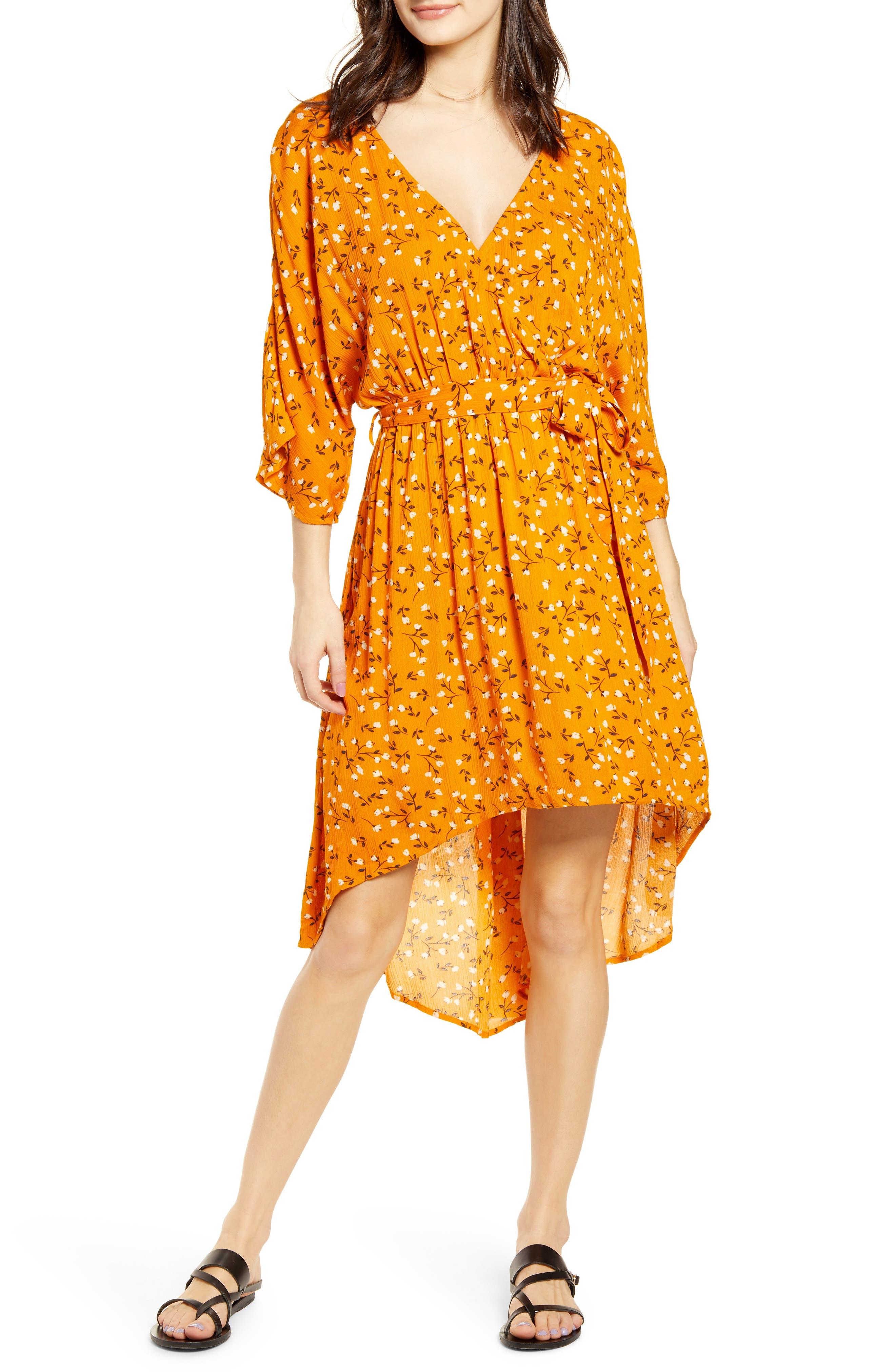 Minkpink Delicate Daze Floral Print Midi Dress, Orange