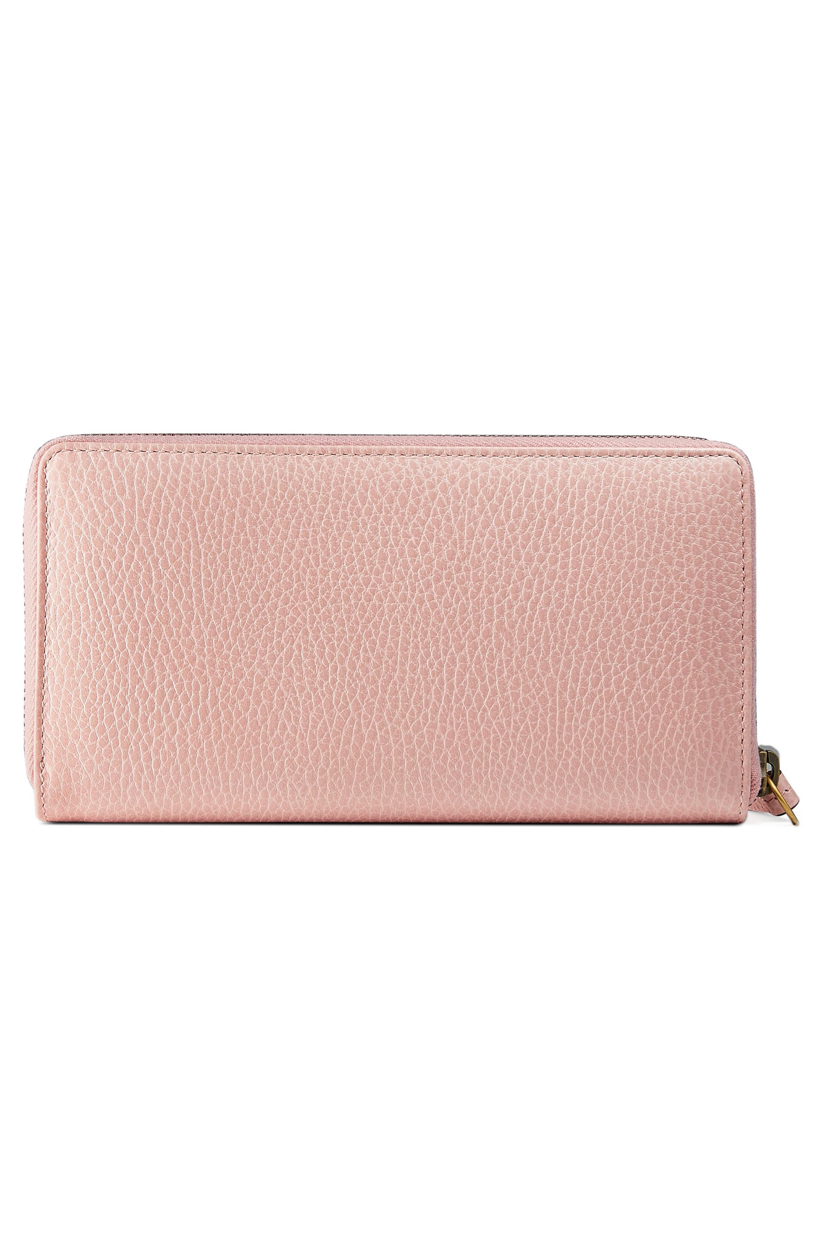 GUCCI, Farfalla Zip Around Leather Wallet, Alternate thumbnail 3, color, PERFECT PINK/ CRYSTAL