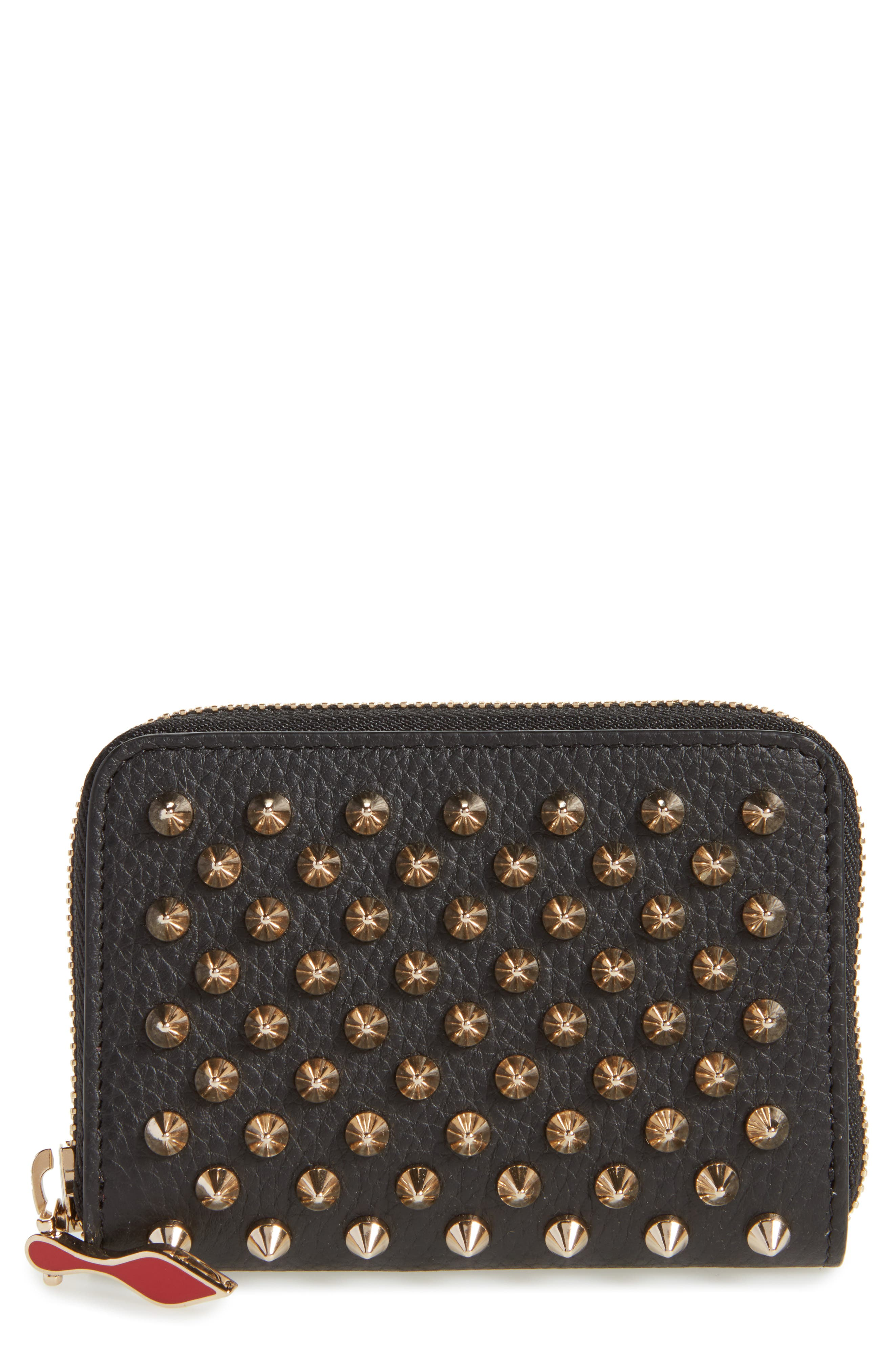CHRISTIAN LOUBOUTIN, Panettone Leather Coin Purse, Main thumbnail 1, color, BLACK/ GOLD