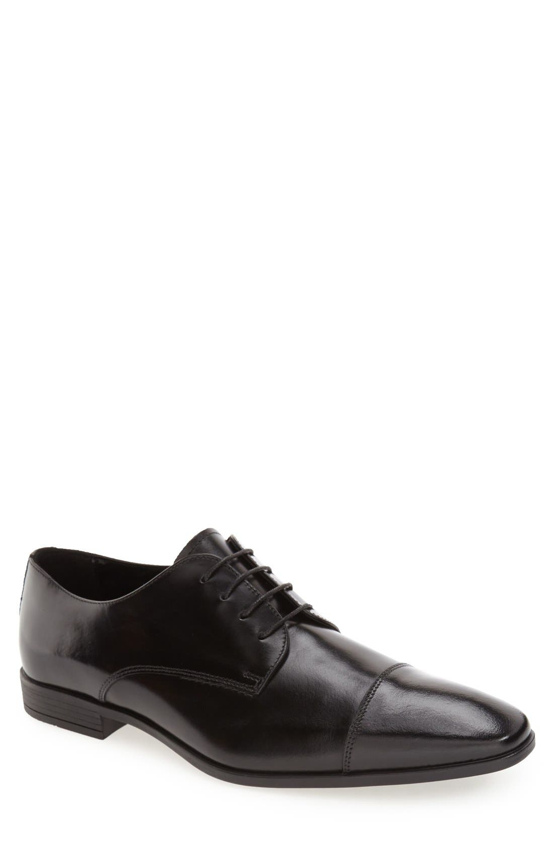 THE RAIL 'Stark' Cap Toe Derby, Main, color, BLACK LEATHER