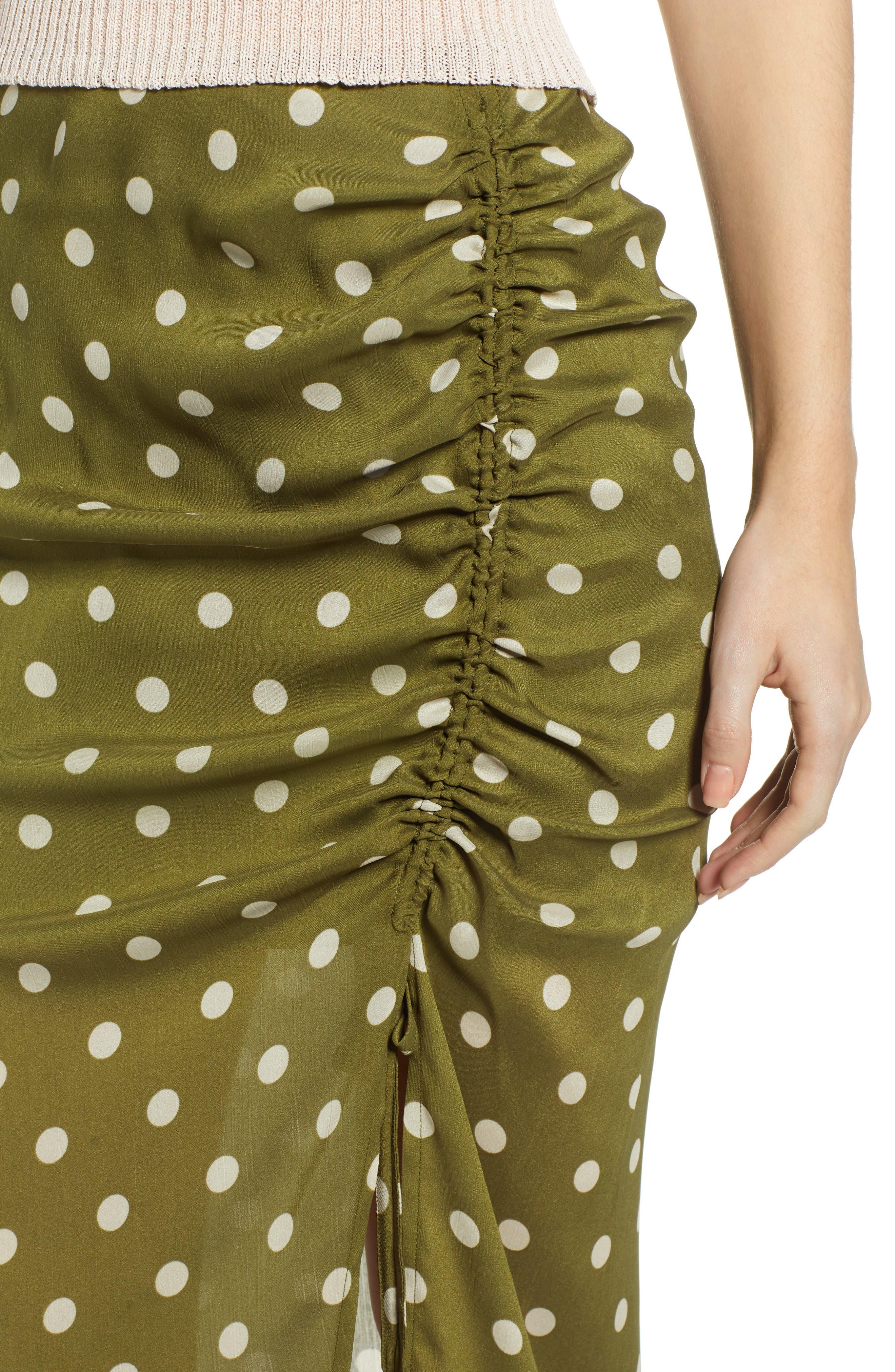 CHRISELLE LIM COLLECTION, Chriselle Lim Ren Ruched Skirt, Alternate thumbnail 4, color, CREAM/ OLIVE