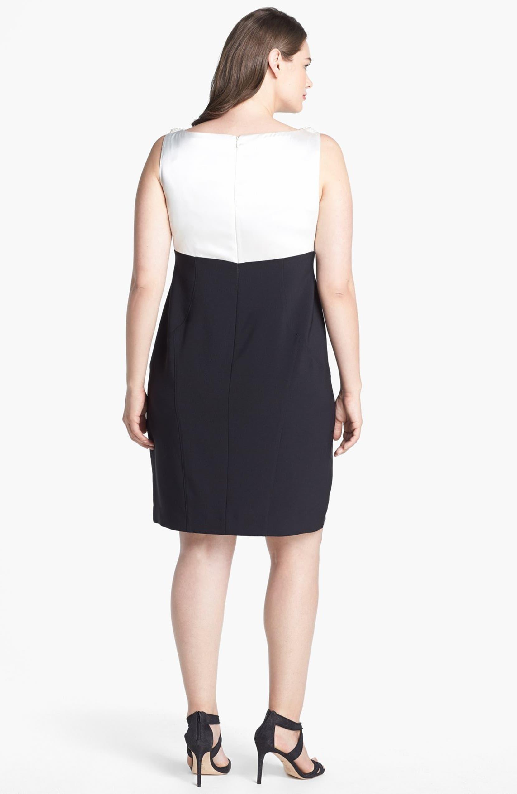 London Times Satin & Ponte Knit Sheath Dress (Plus Size) | Nordstrom
