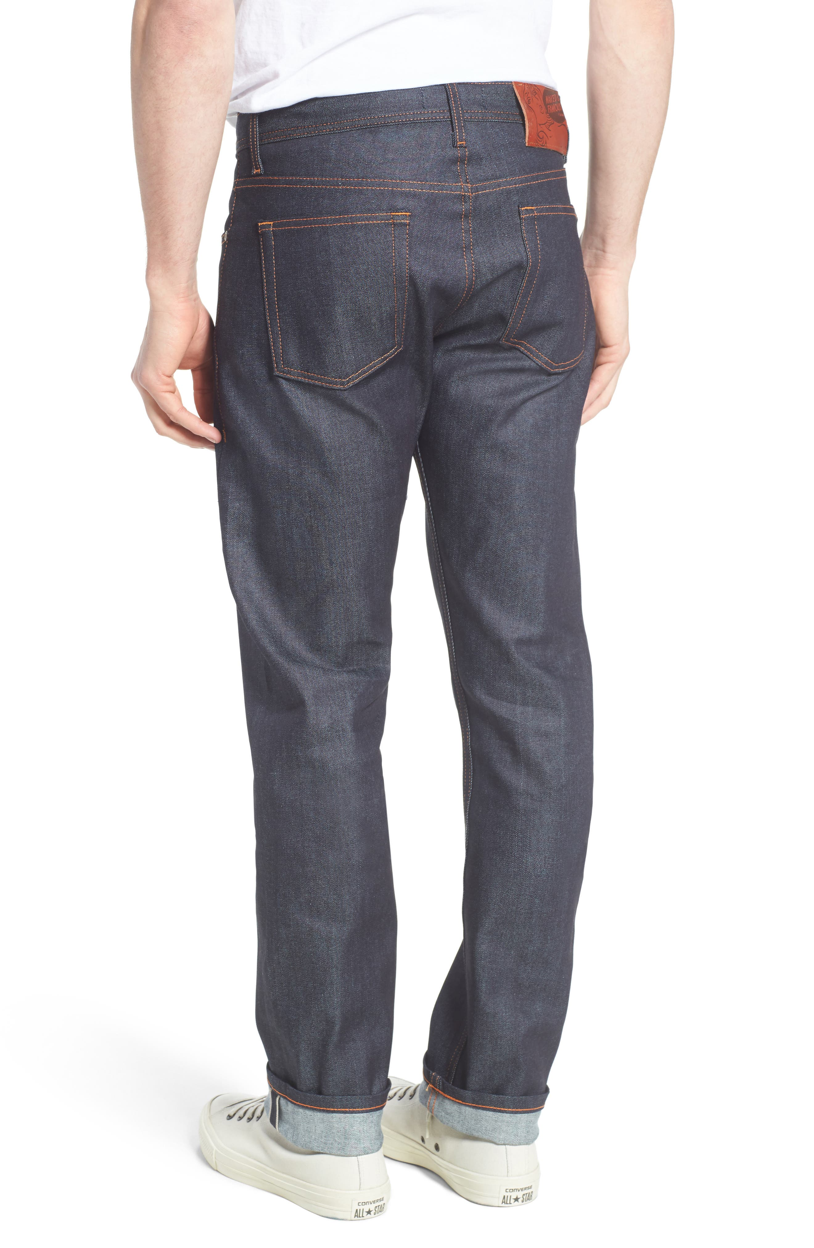 NAKED & FAMOUS DENIM, Weird Guy 11 oz. Slim Fit Stretch Selvedge Jeans, Alternate thumbnail 2, color, INDIGO