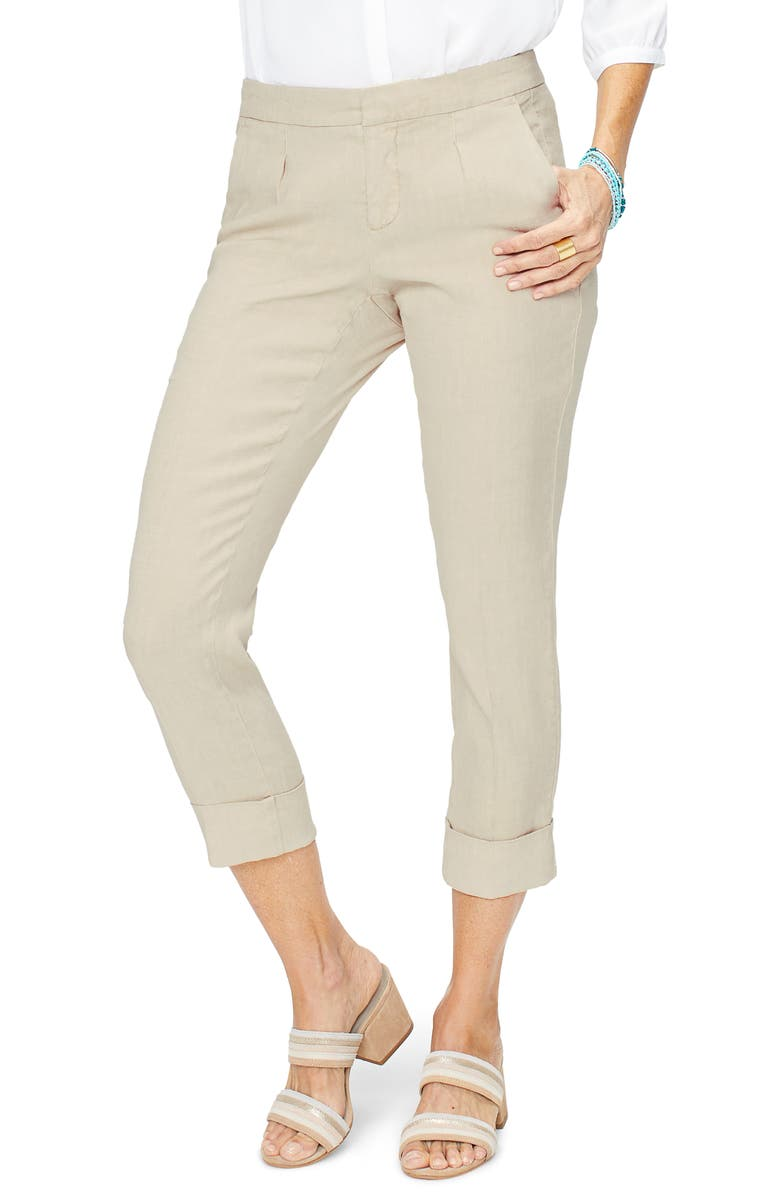 Nydj Pants EVERYDAY PLEATED CUFF DETAIL LINEN BLEND TROUSERS