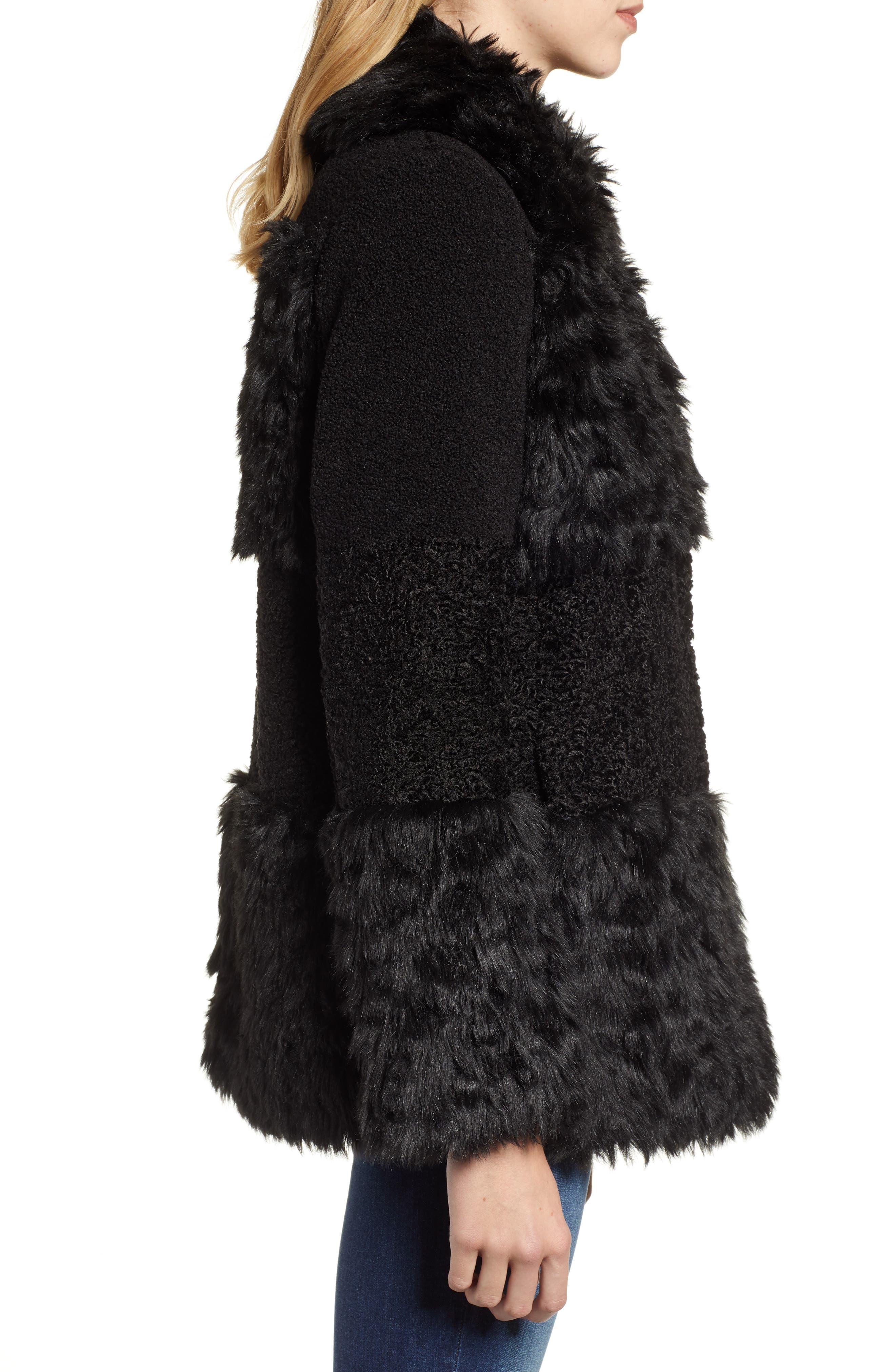 KENSIE, Faux Fur Patchwork Coat, Alternate thumbnail 4, color, 001