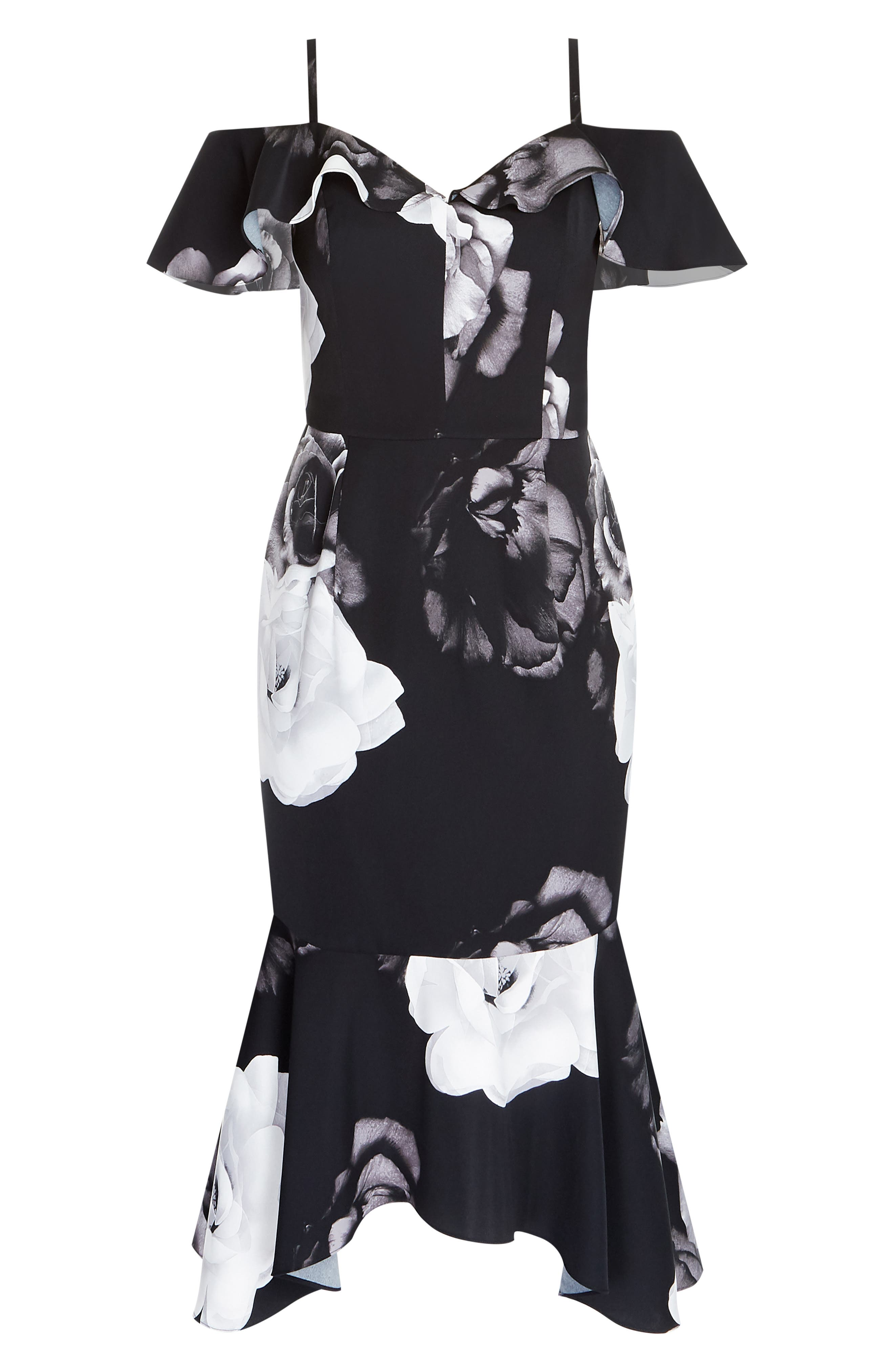 CITY CHIC, Rose Shadows Sheath Dress, Alternate thumbnail 3, color, ROSE SHADOWS