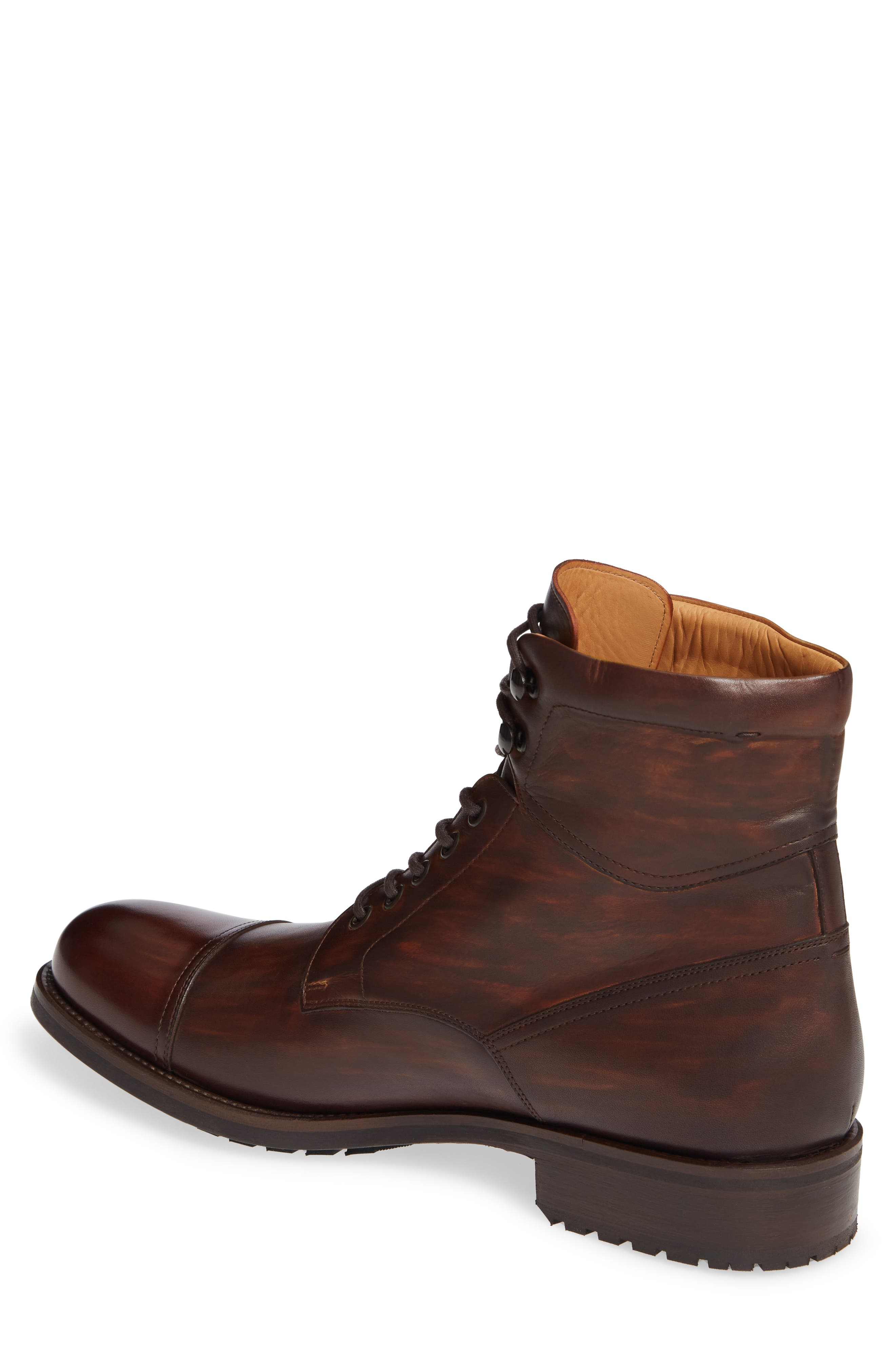 MAGNANNI, Peyton Cap Toe Boot, Alternate thumbnail 2, color, TOBACCO LEATHER
