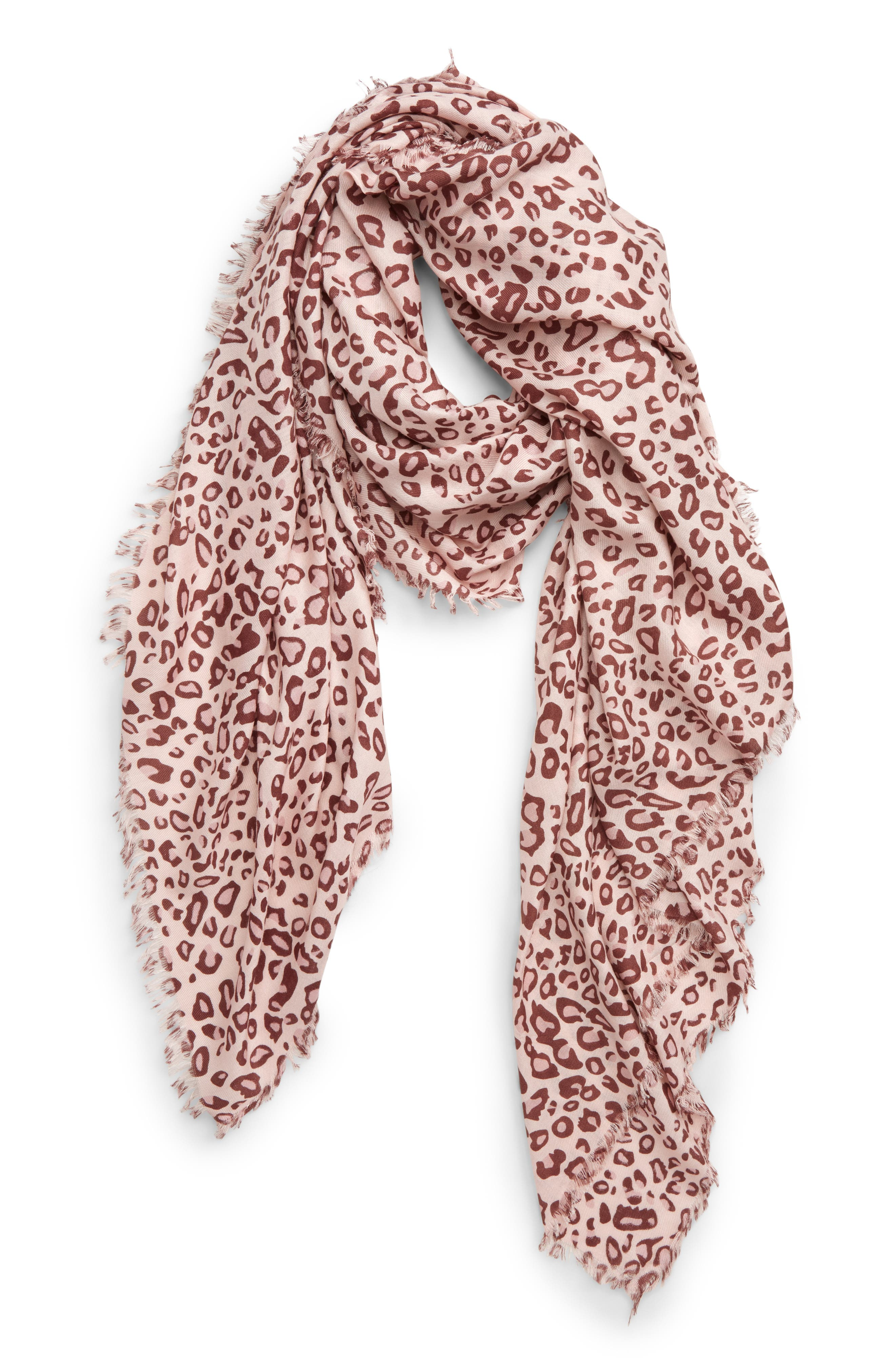 SOLE SOCIETY, Leopard Print Scarf, Main thumbnail 1, color, BLUSH COMBO