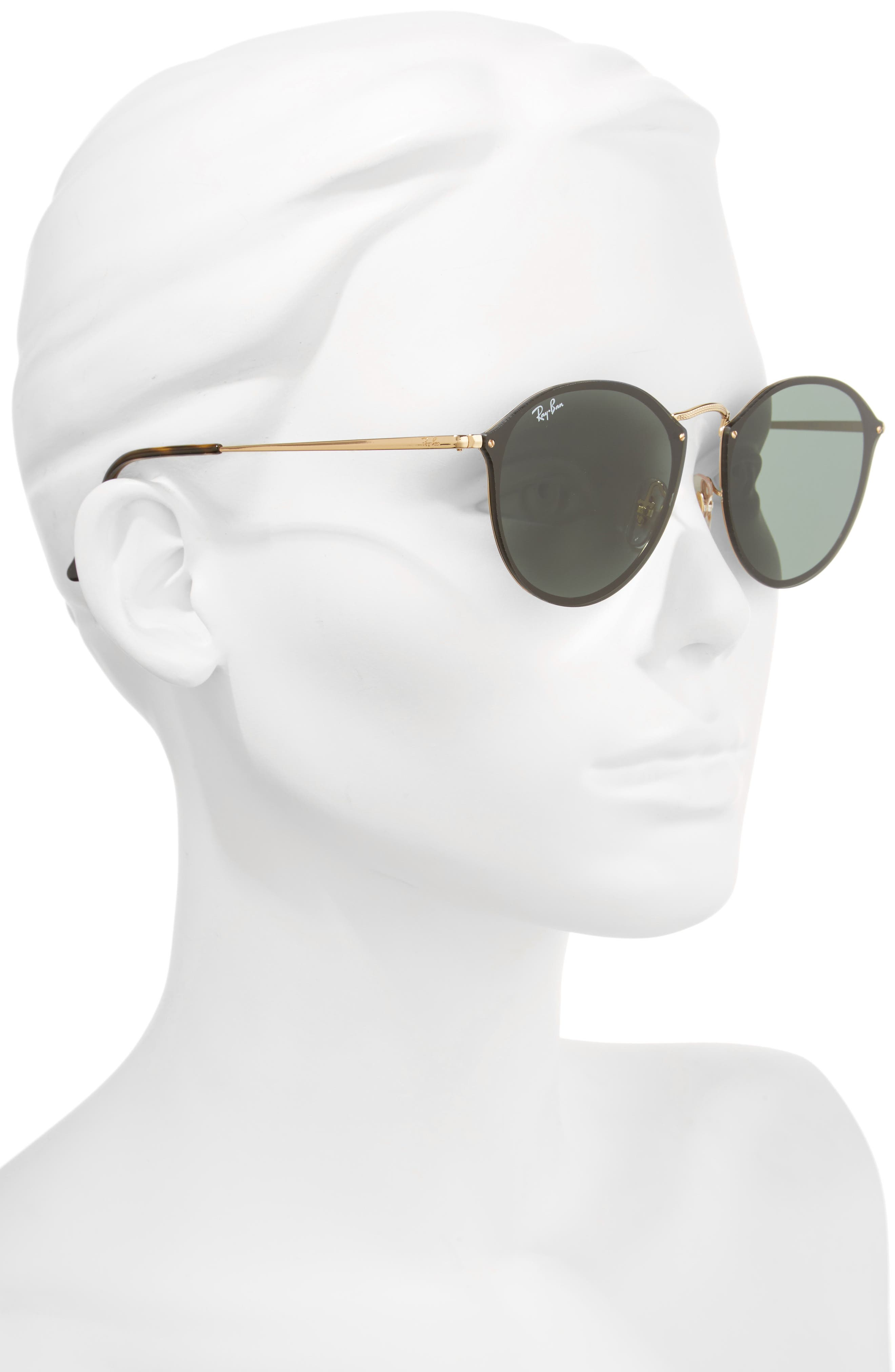 RAY-BAN, Blaze 59mm Round Sunglasses, Alternate thumbnail 2, color, GOLD/ GREEN