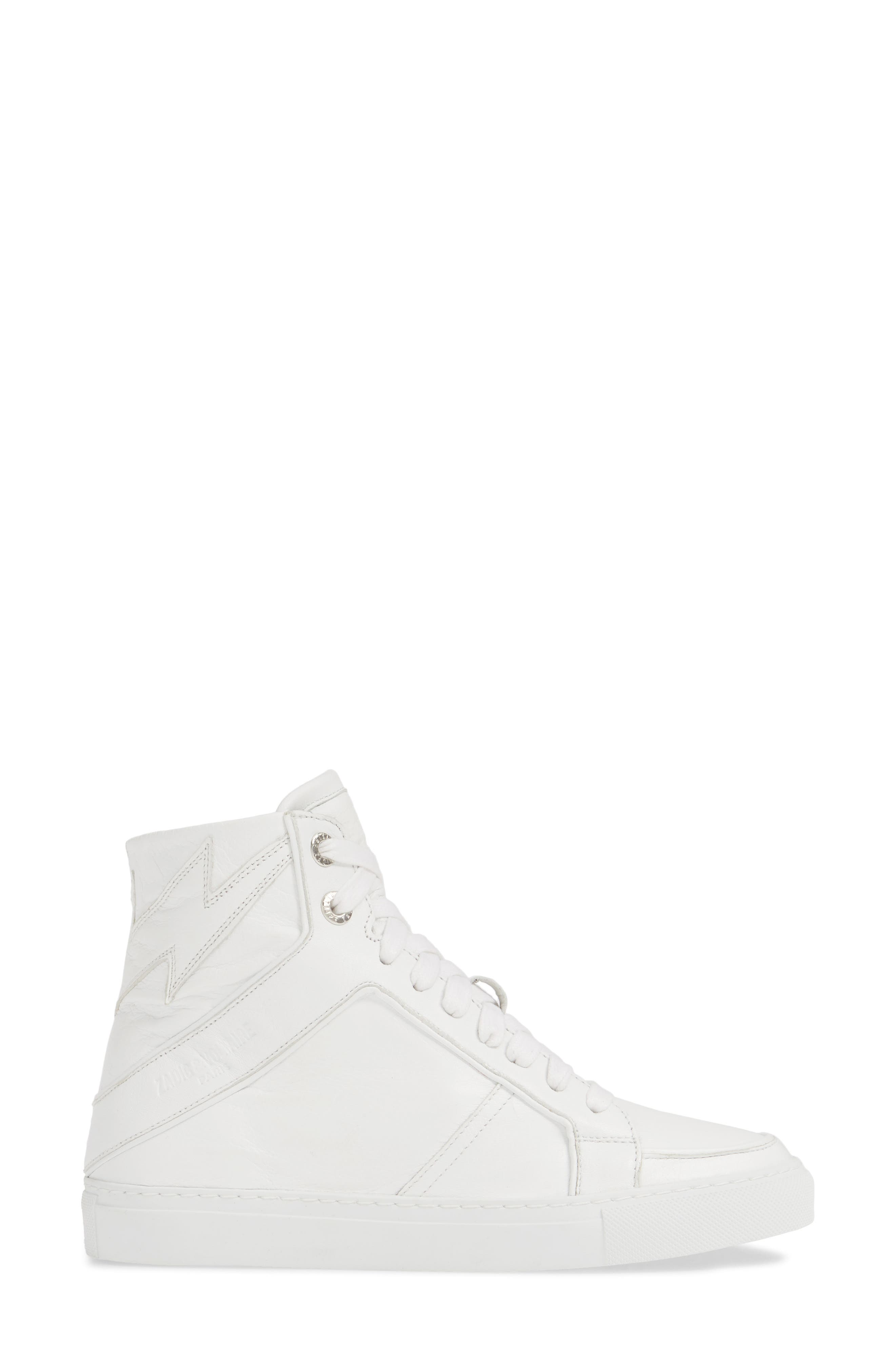 ZADIG & VOLTAIRE, Flash High Top Sneaker, Alternate thumbnail 3, color, BLANC
