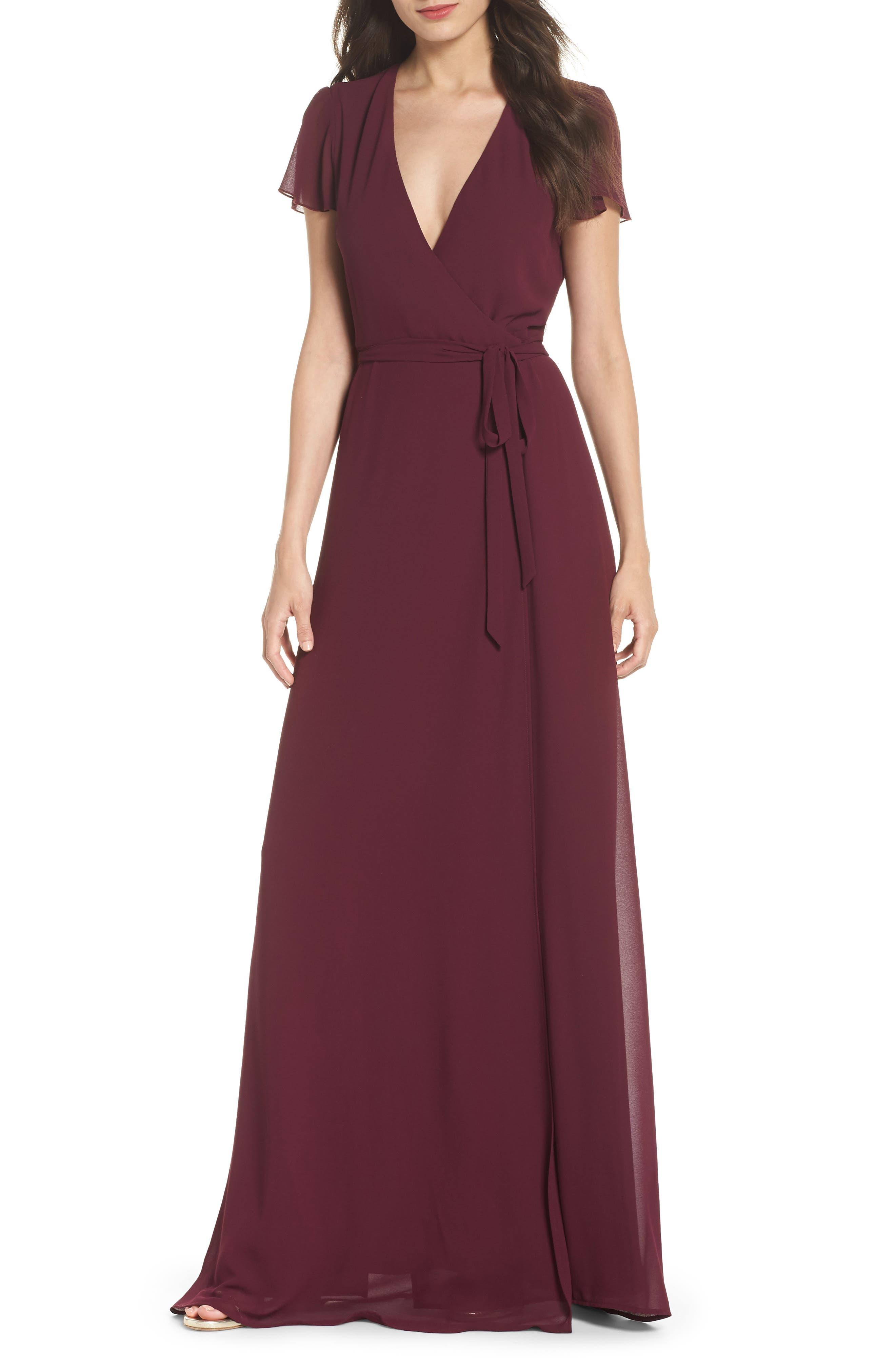 SHOW ME YOUR MUMU, Noelle Wrap Dress, Main thumbnail 1, color, MERLOT CHIFFON