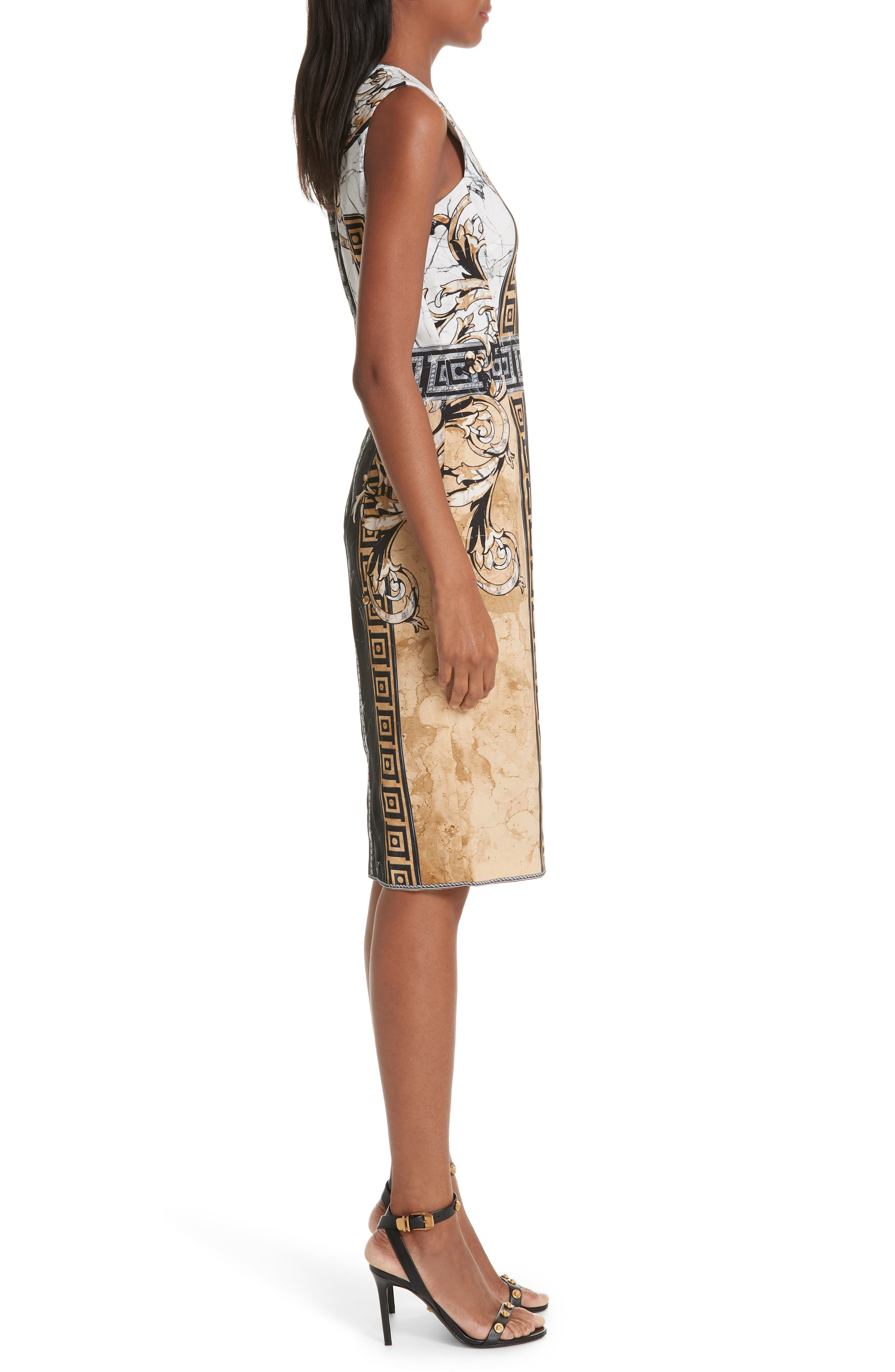 VERSACE COLLECTION, Marble Print Sheath Dress, Alternate thumbnail 4, color, BLACK