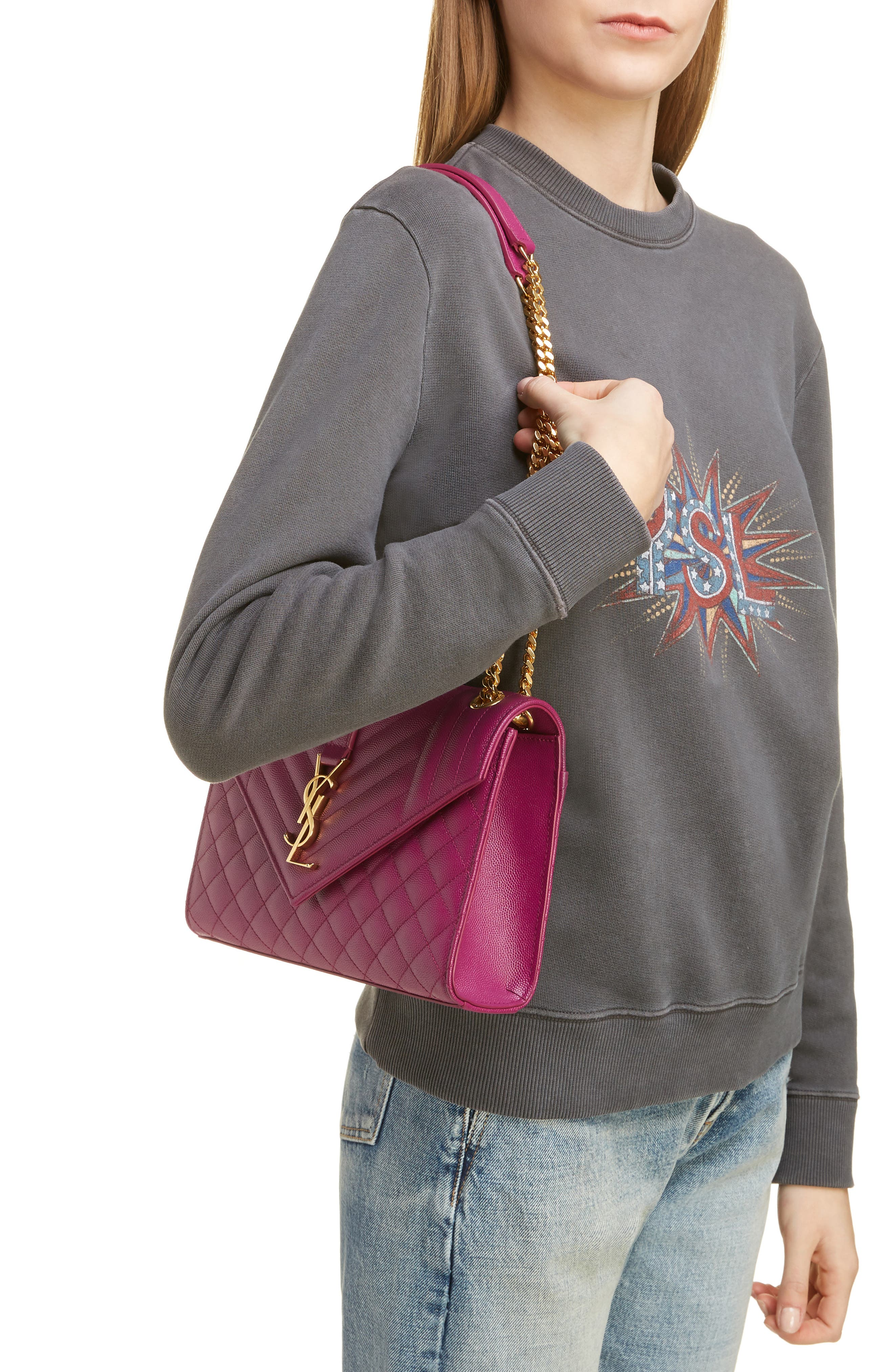 SAINT LAURENT, Medium Cassandre Calfskin Shoulder Bag, Alternate thumbnail 2, color, DARK GRAPE