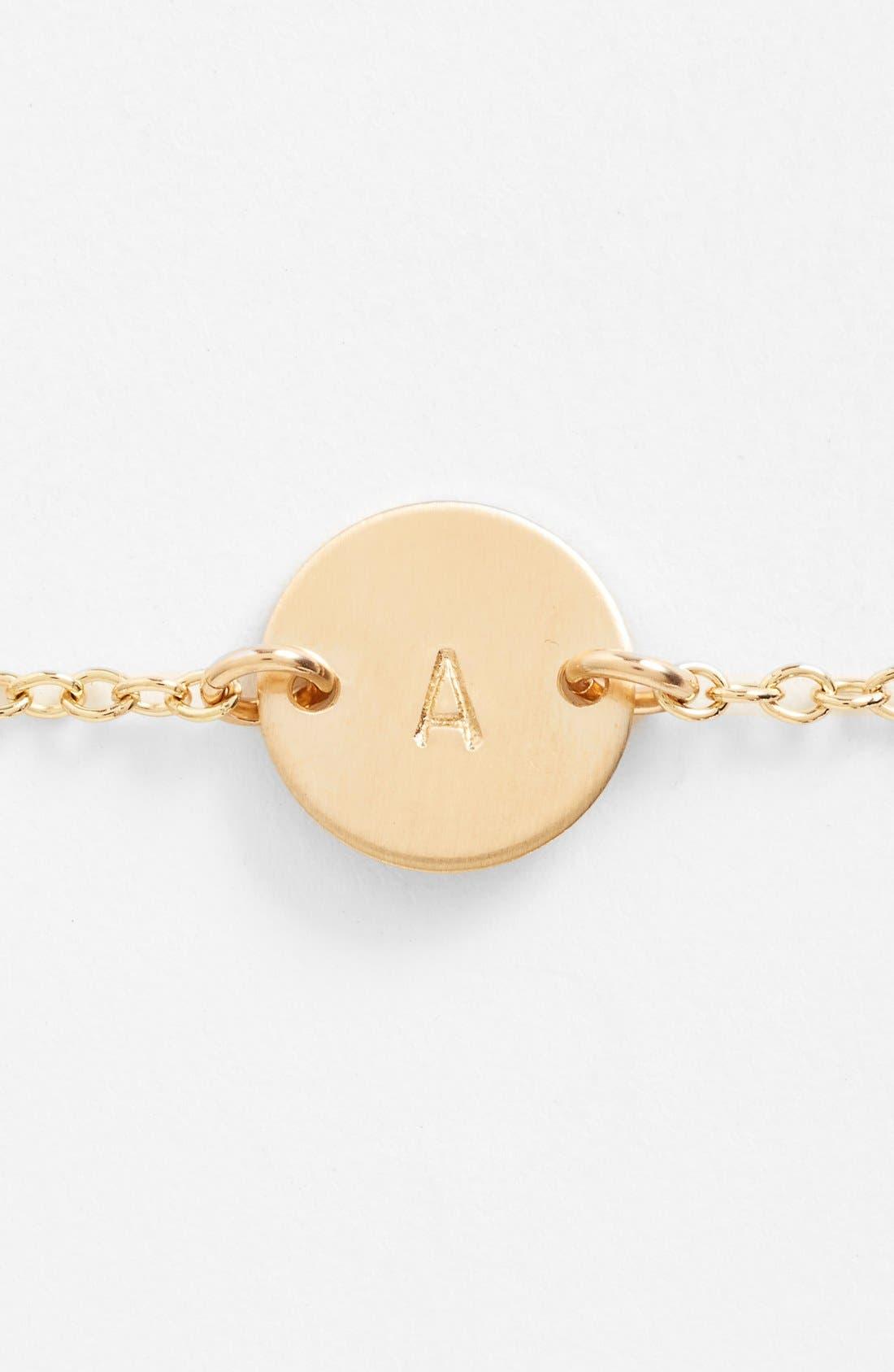 NASHELLE, Initial Mini Disc Bracelet, Alternate thumbnail 2, color, 14K GOLD FILL A