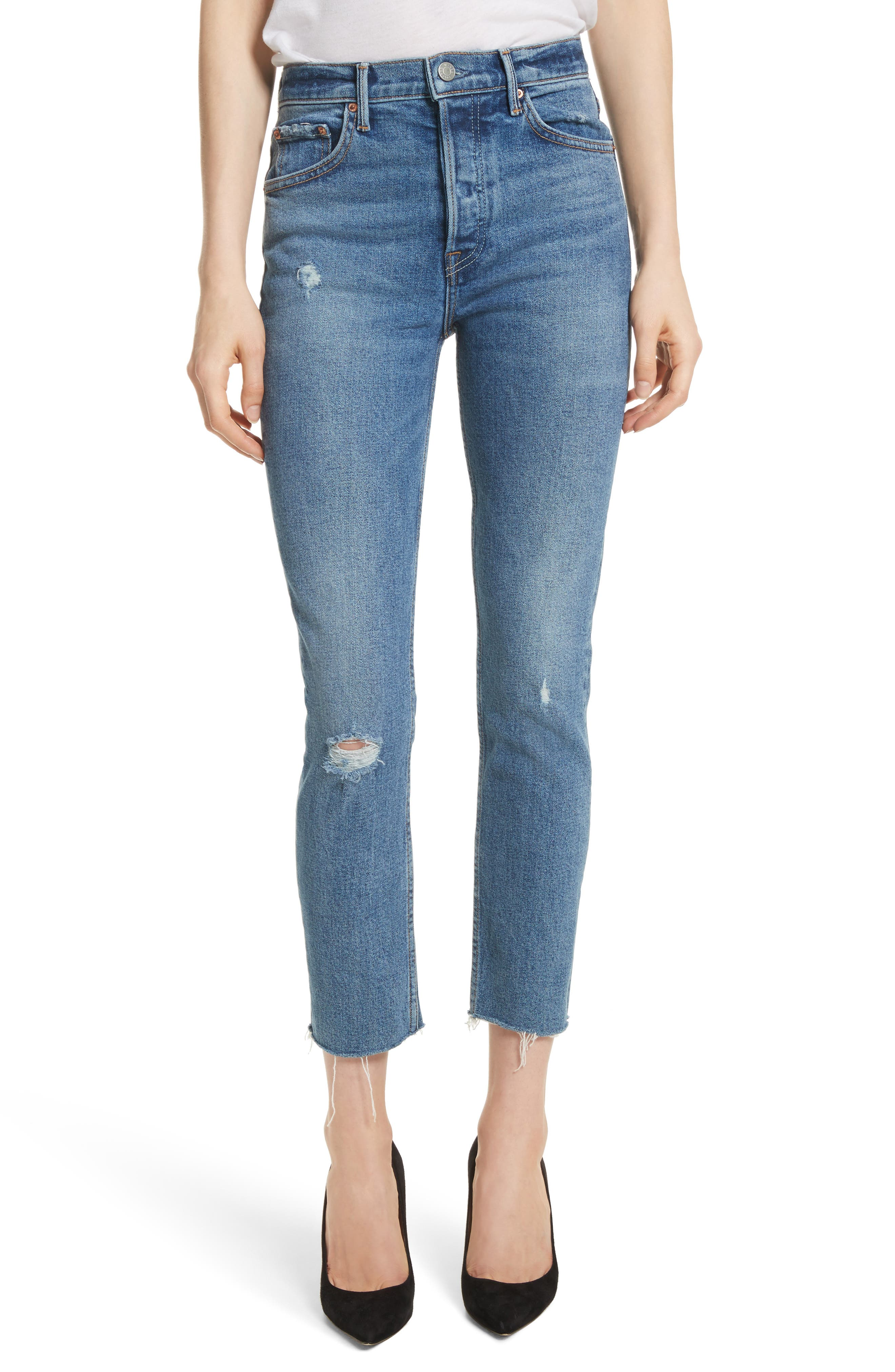 GRLFRND Karolina High Waist Skinny Jeans, Main, color, SIXPENCE
