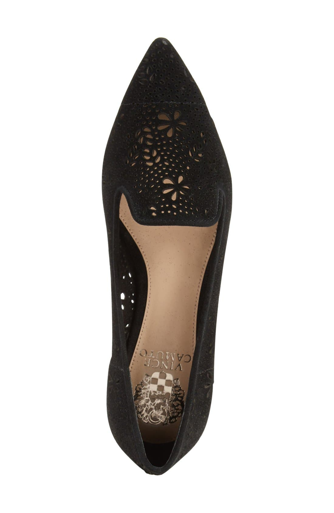 VINCE CAMUTO, 'Earina' Perforated Flat, Alternate thumbnail 4, color, 001