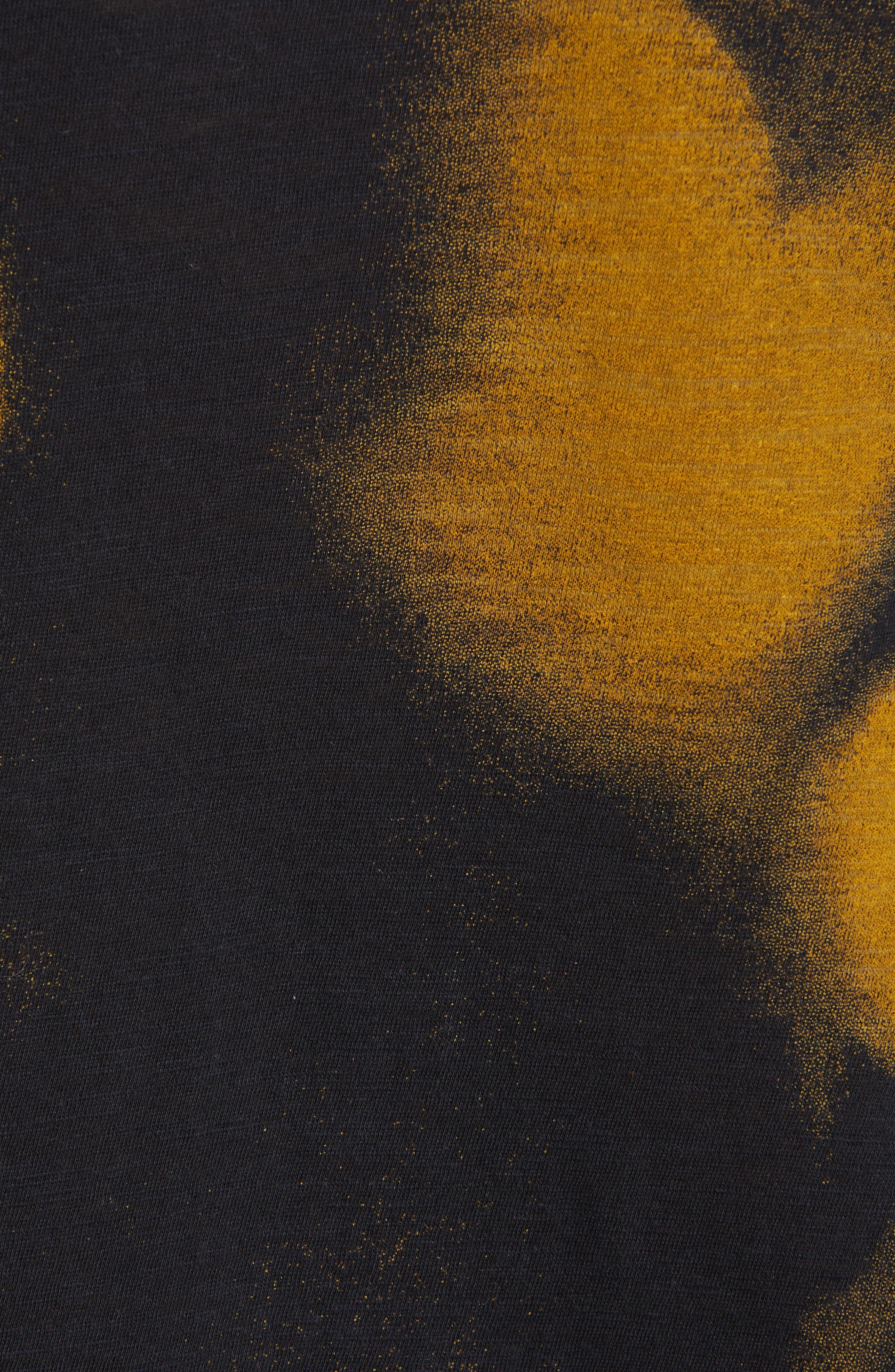 PROENZA SCHOULER, Print Jersey Tee, Alternate thumbnail 5, color, YELLOW/ BLACK ROSE PRINT