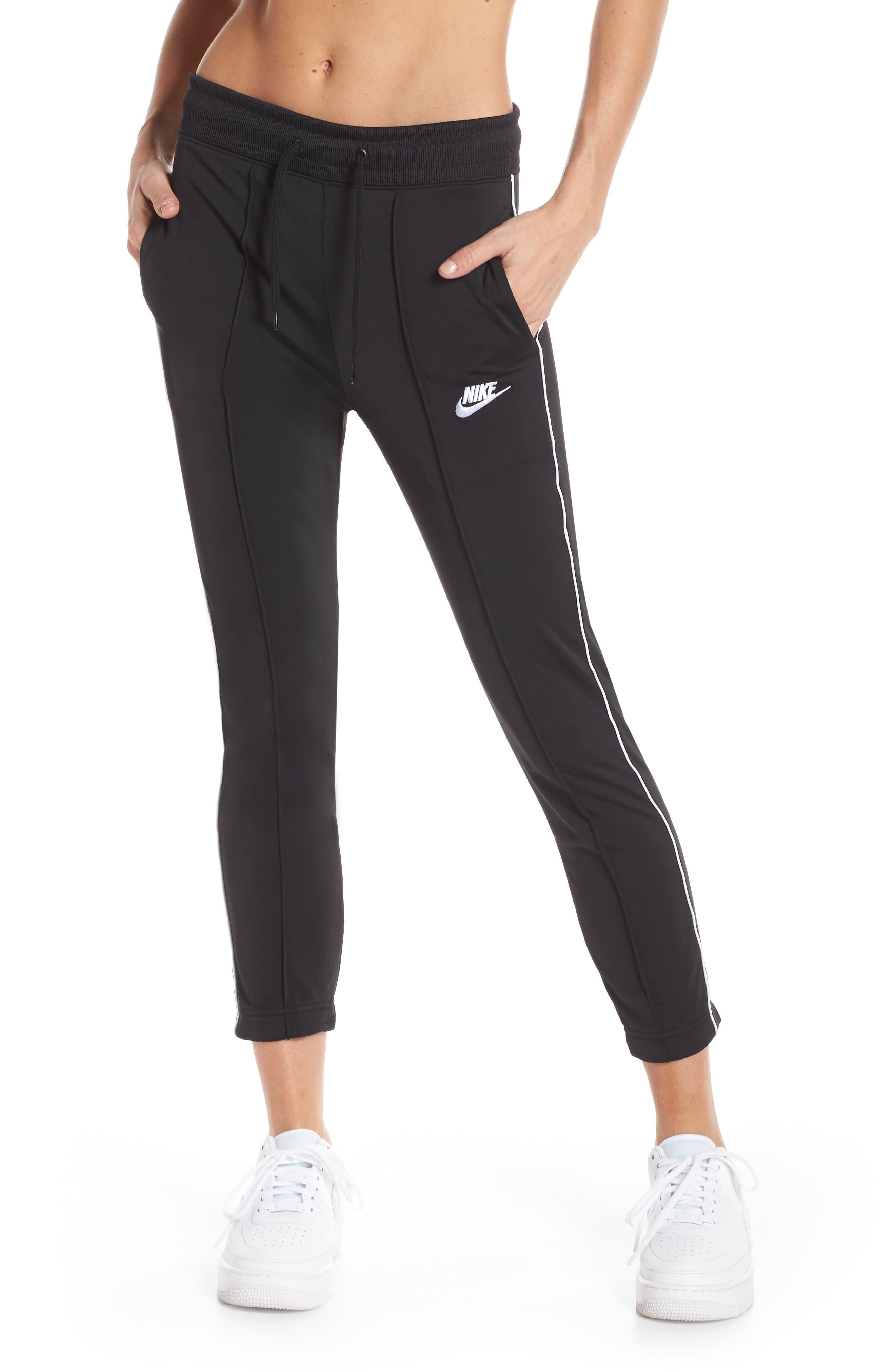 NIKE, NSW Slim Crop Pants, Main thumbnail 1, color, BLACK/ WHITE/ WHITE