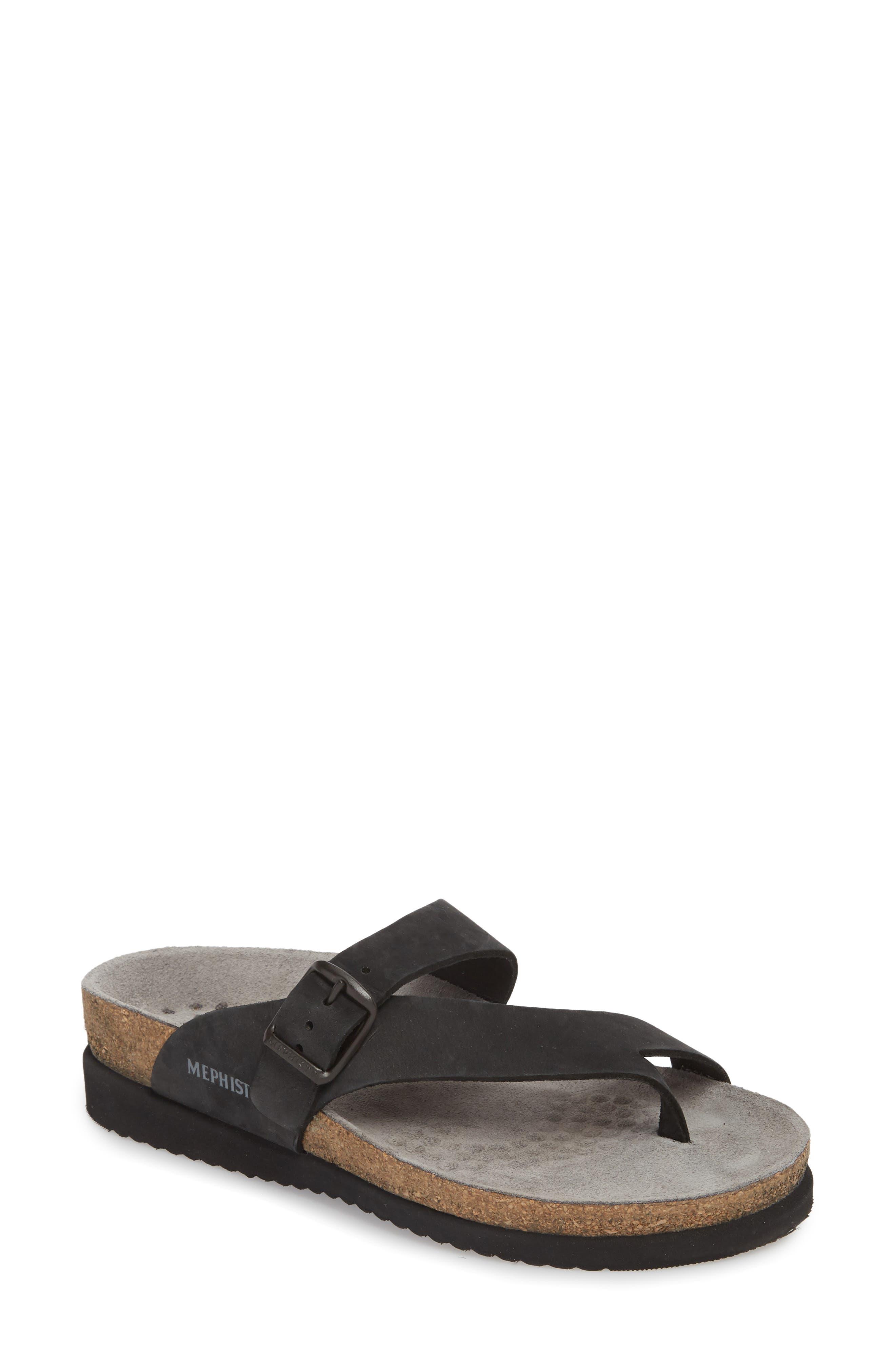 MEPHISTO, 'Helen' Sandal, Main thumbnail 1, color, BLACK NUBUCK